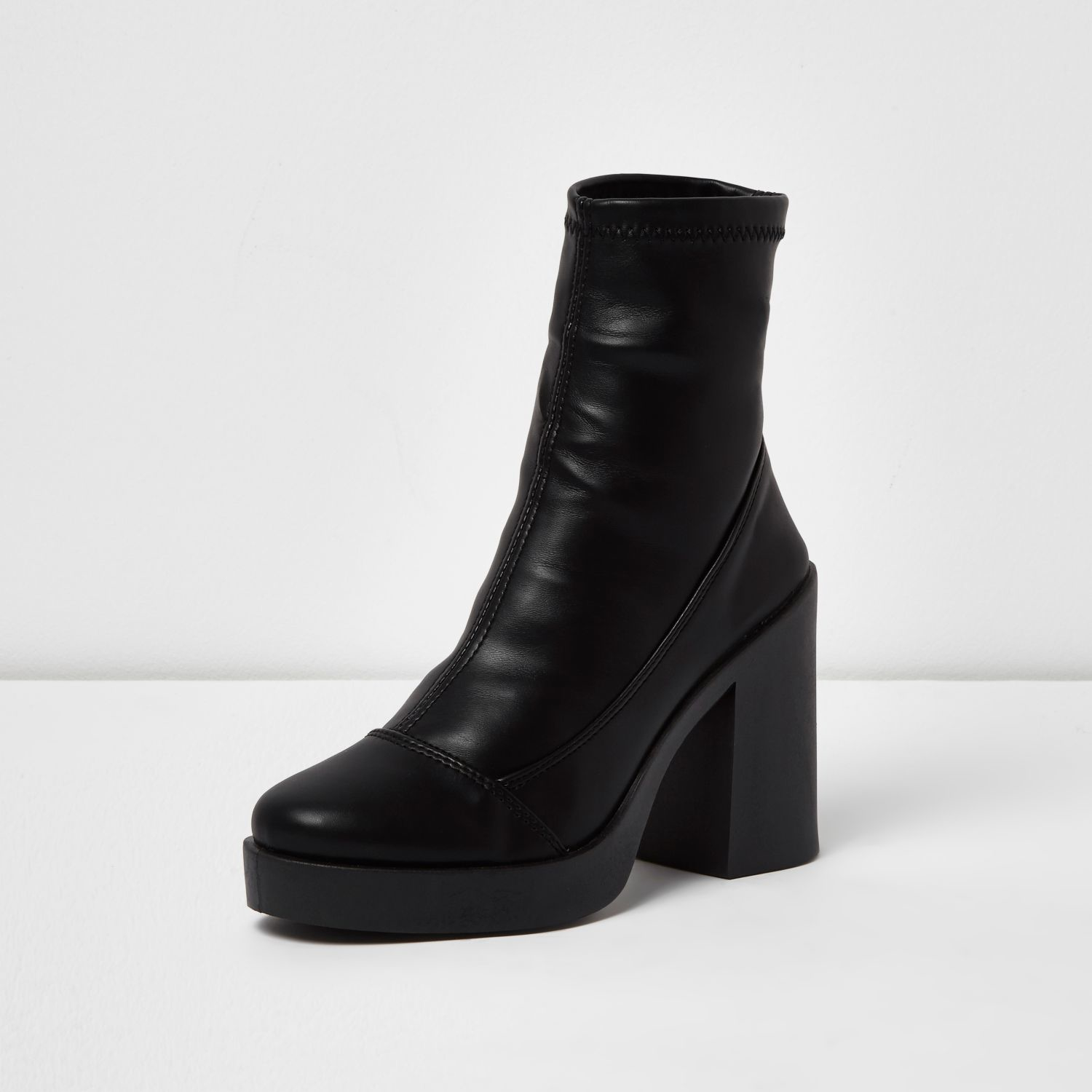 Lyst River Island Black Chunky Platform Sock Boots In Black
