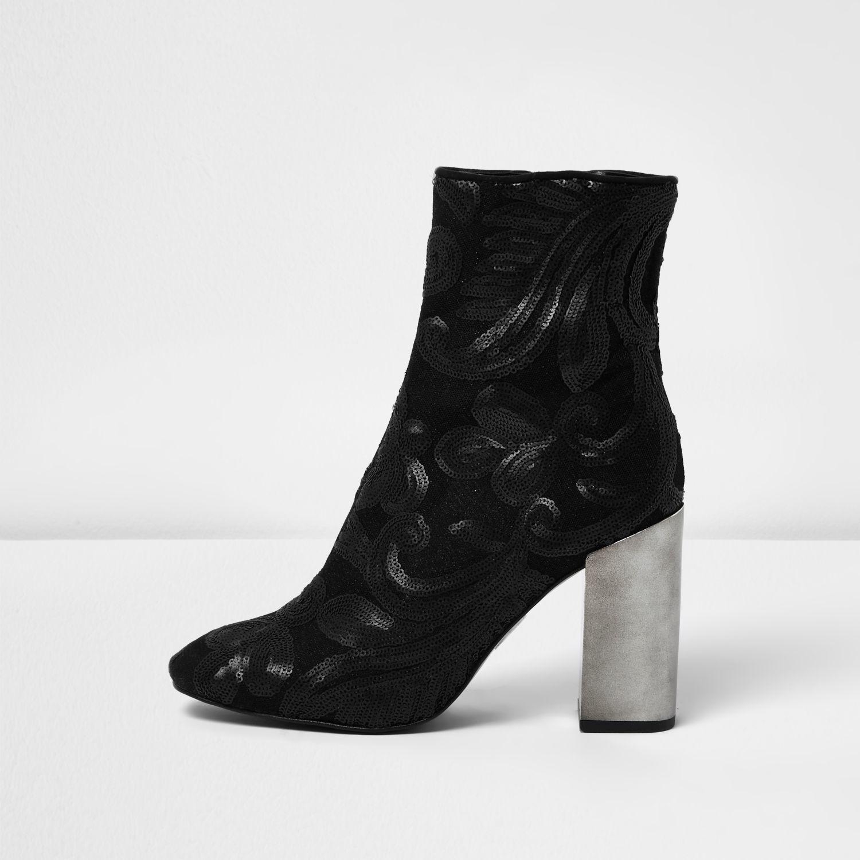 river island black embroidered sequin block heel boots in