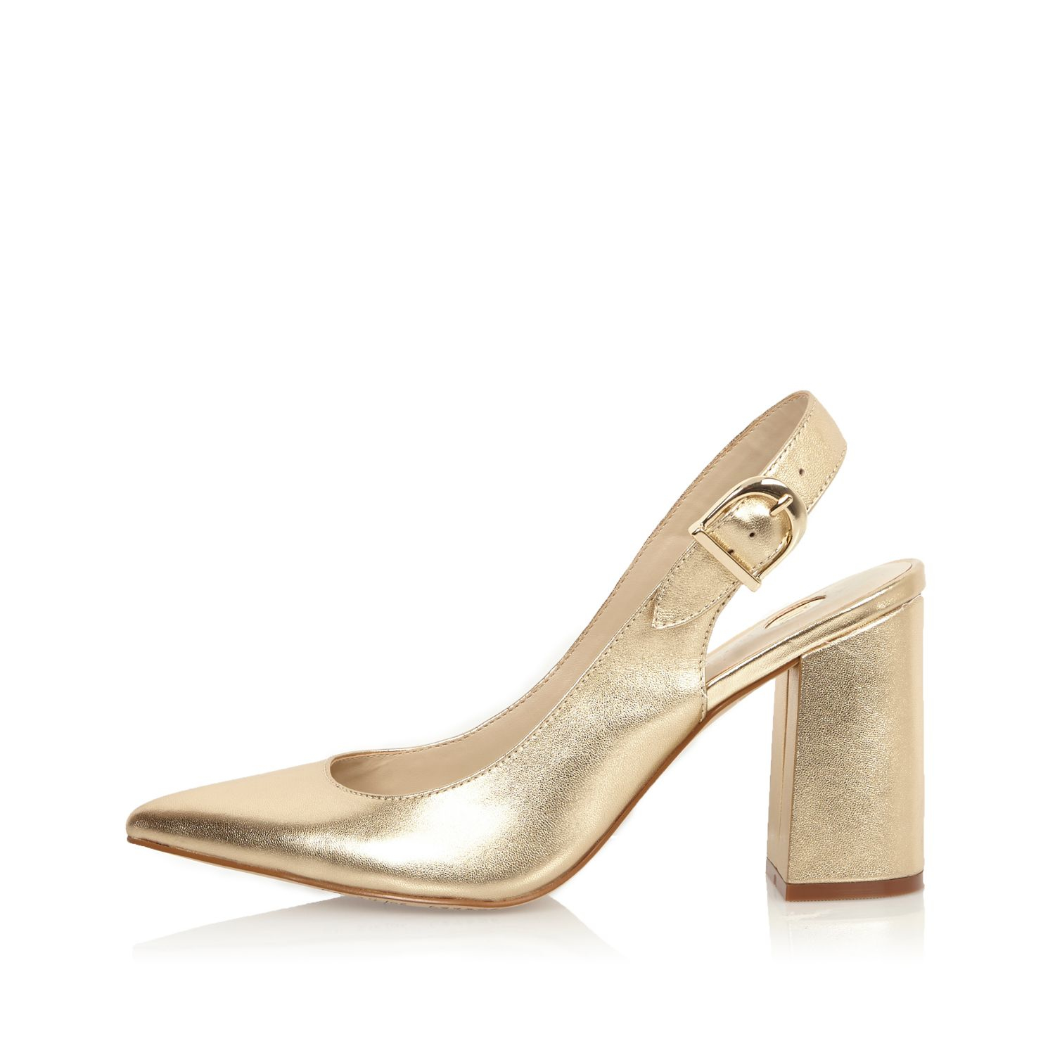 River Island Gold Leather Slingback Block Heels In
