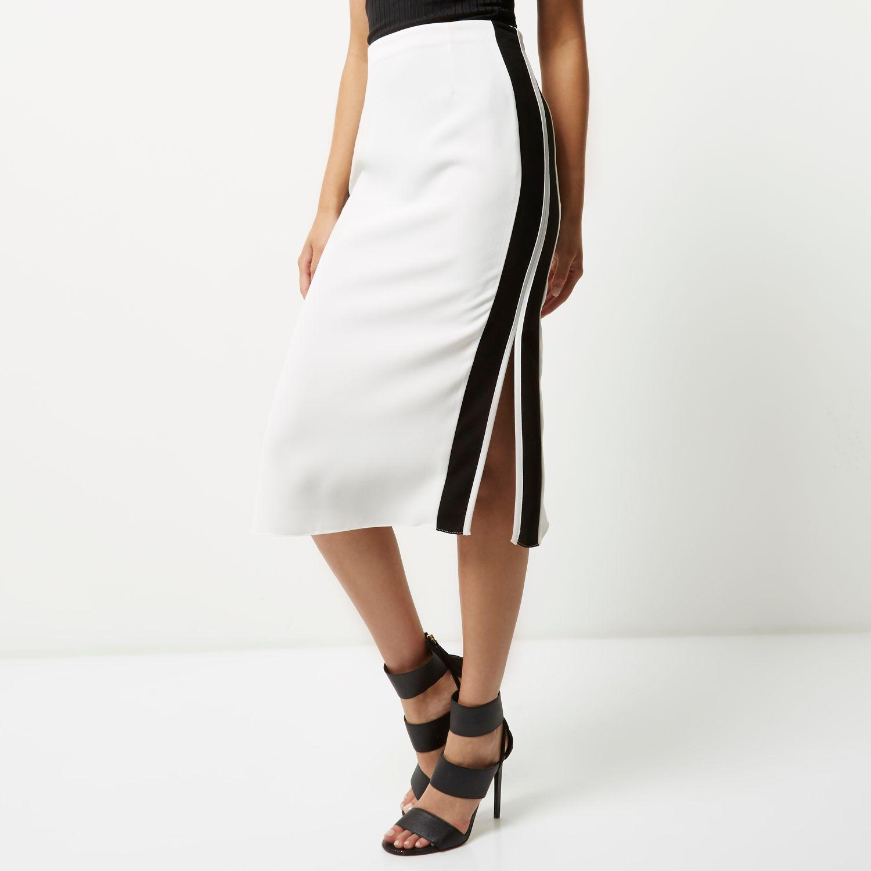 river island white side stripe pencil skirt in white lyst