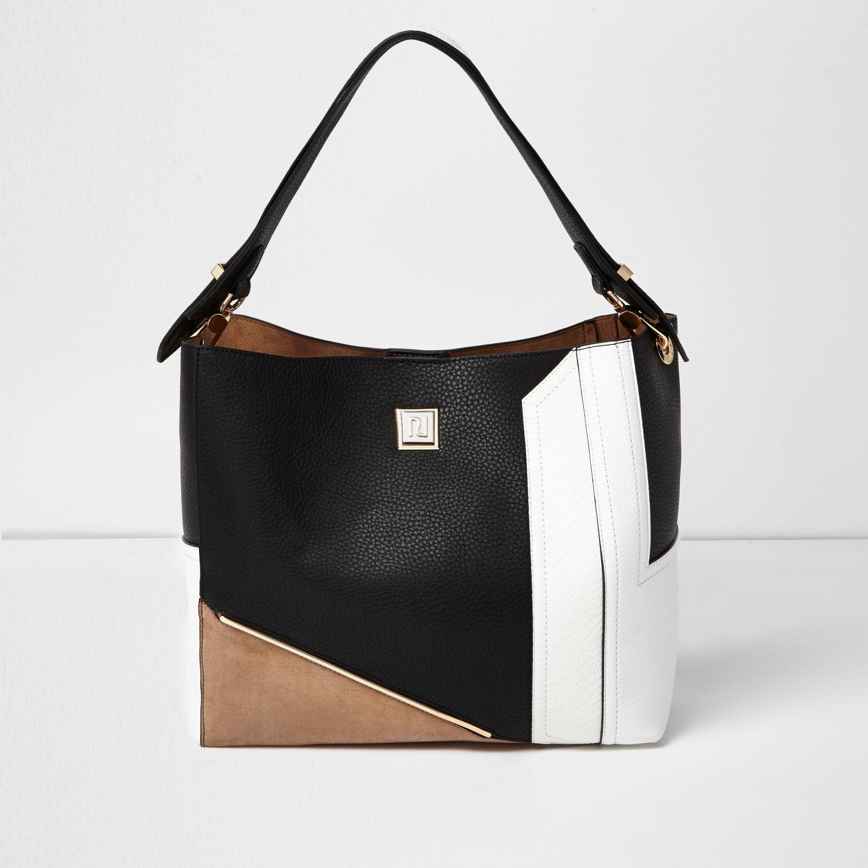 Lyst - River Island Black Colour Block Slouch Bag in Black d24ffb5d77b3d