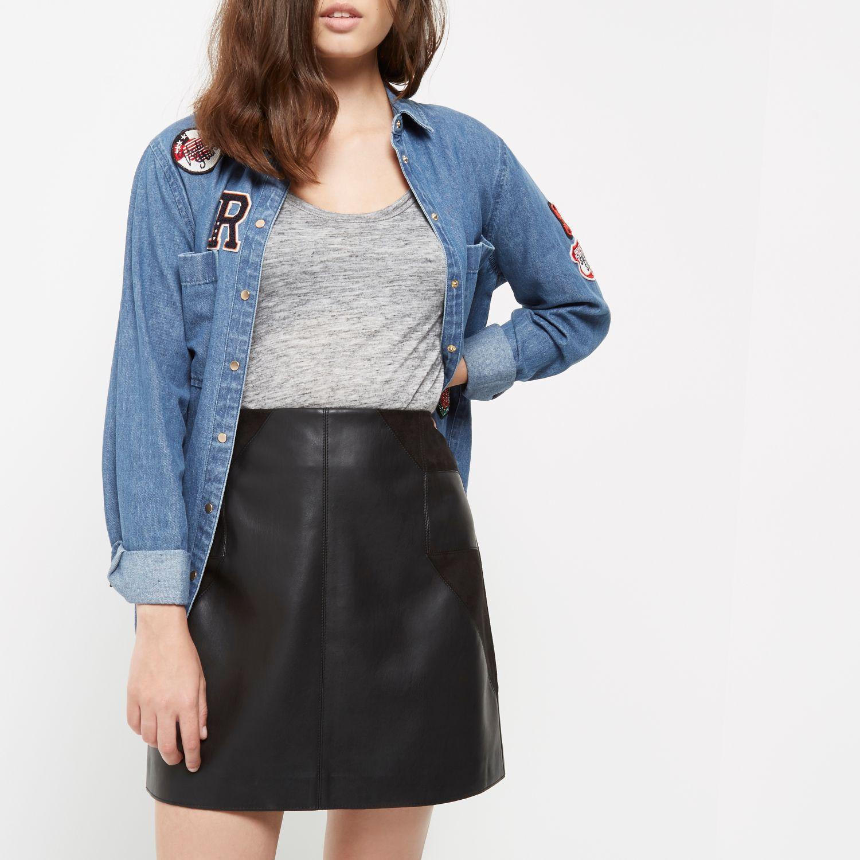 River Island Petite Pencil Leather Skirt