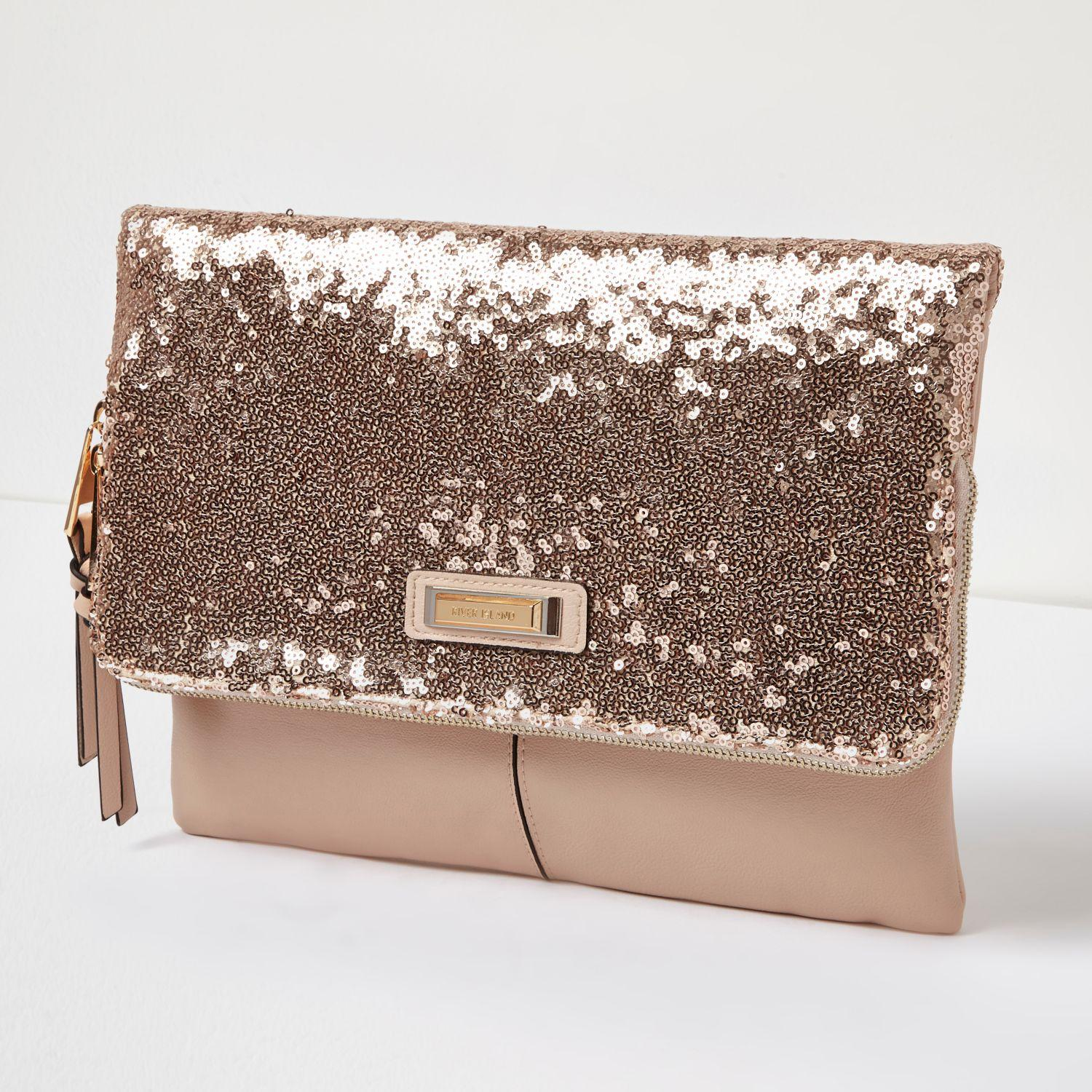 Lyst River Island Rose Gold Sequin Fold Over Clutch Bag