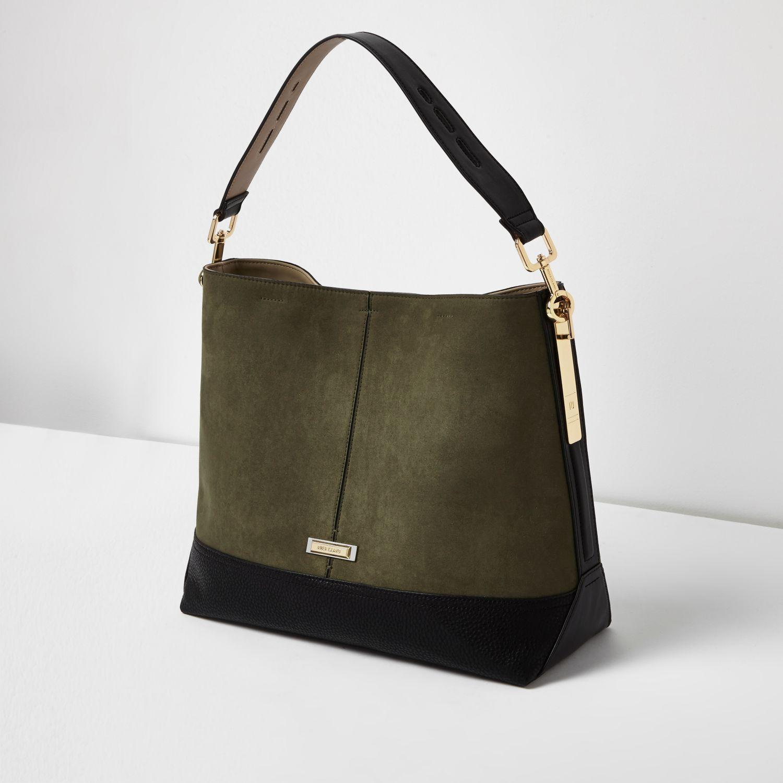 515afe31b5 River island Khaki Green Contrast Panel Slouch Bag