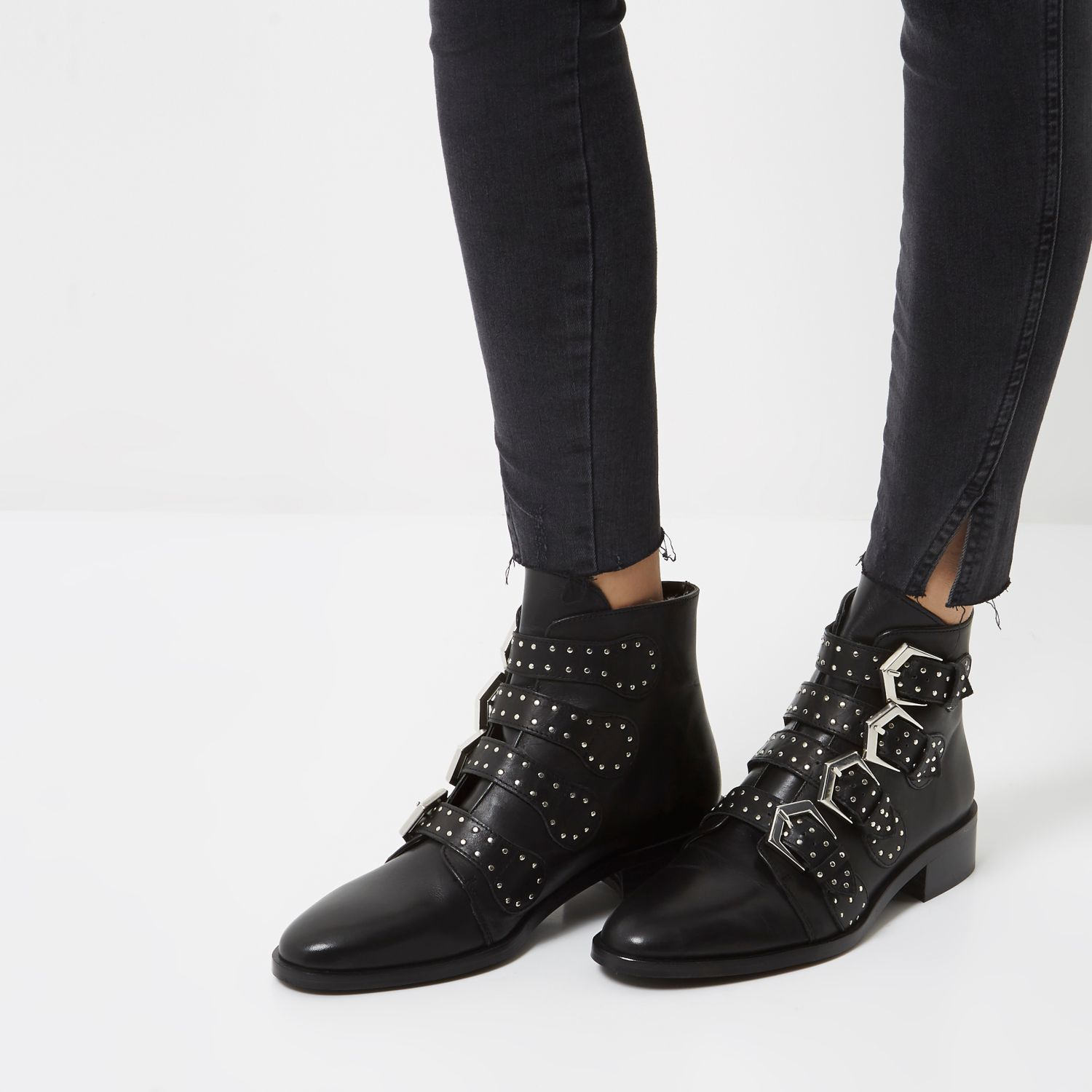 river island black leather stud buckled ankle boots in