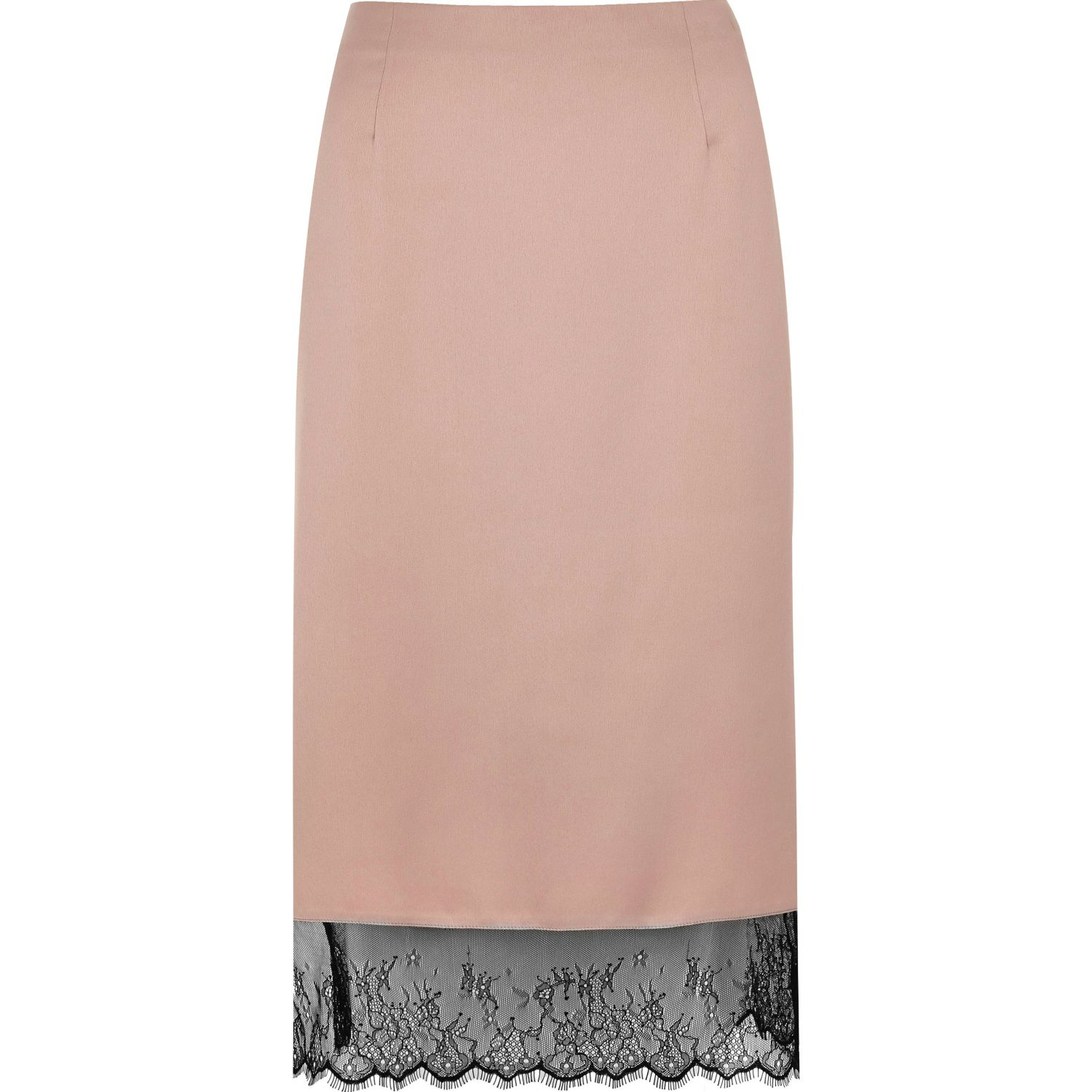 river island light pink lace hem pencil skirt in pink lyst
