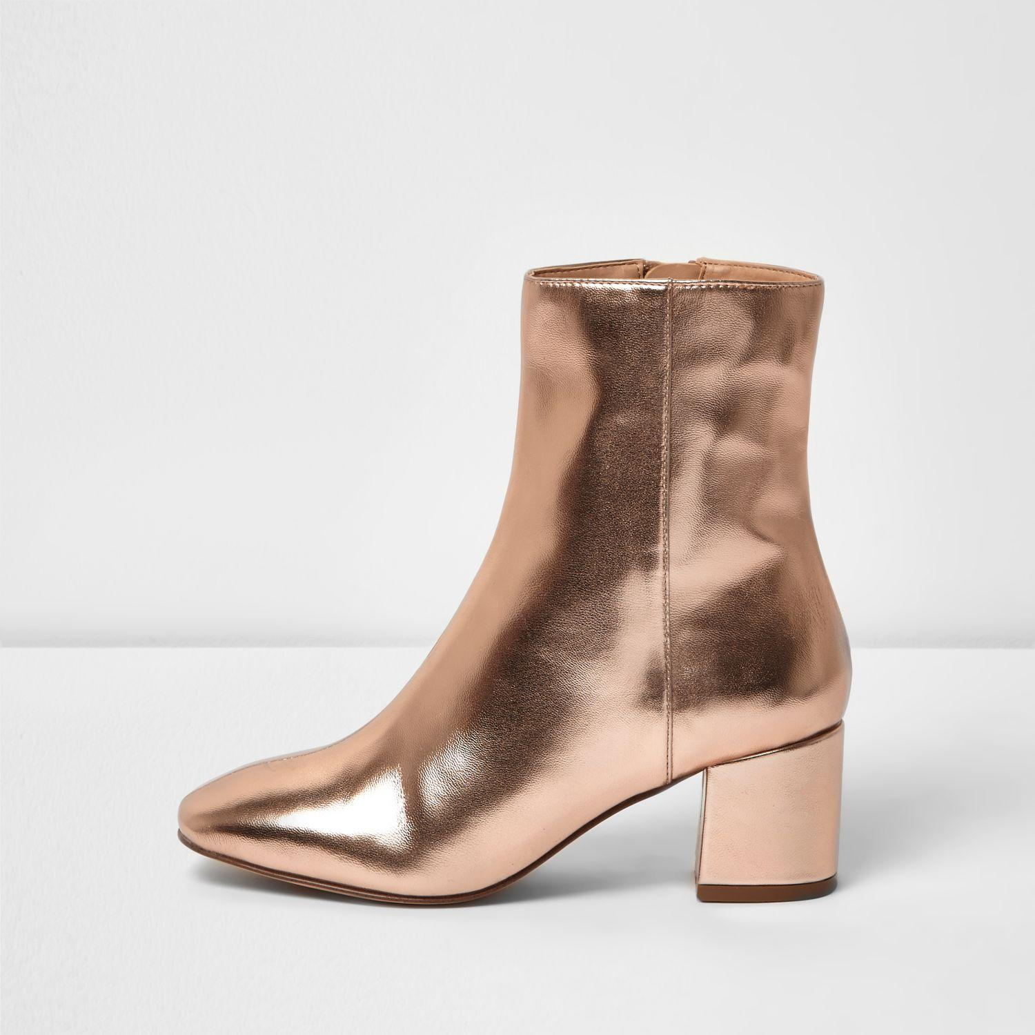 db65afaf998 River Island Rose Gold Block Heel Ankle Boot in Brown - Lyst