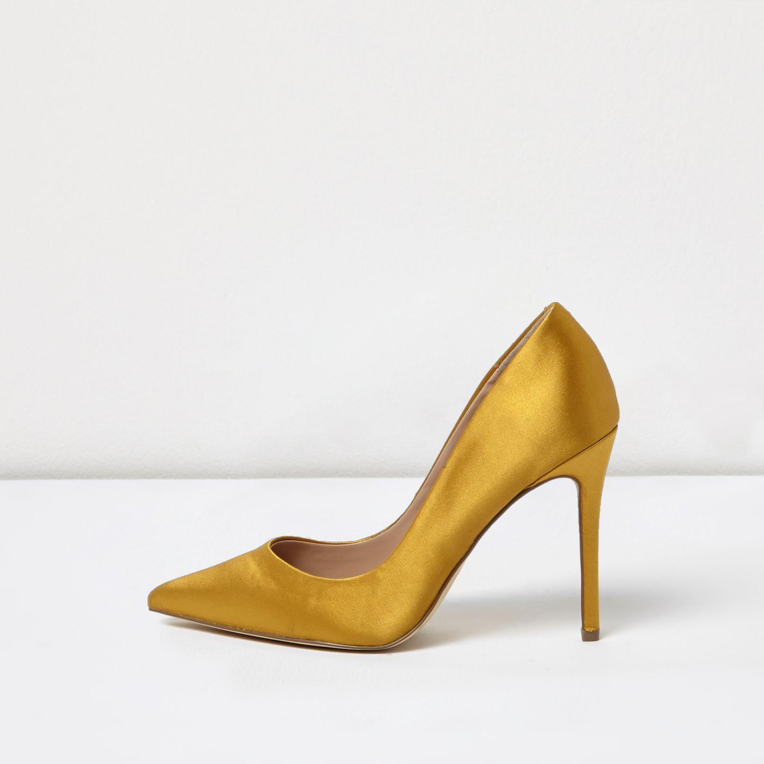 5dfa35065d3 Lyst - River Island Gold Satin Court Shoes in Yellow