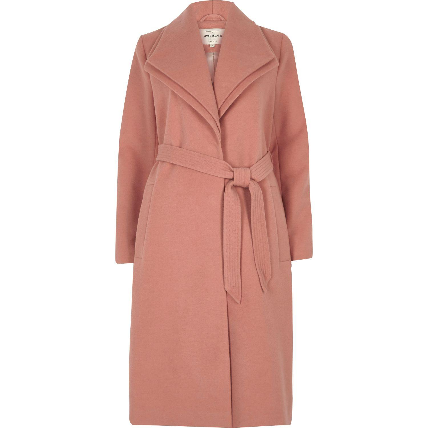 River island Dark Pink Double Collar Coat in Pink | Lyst