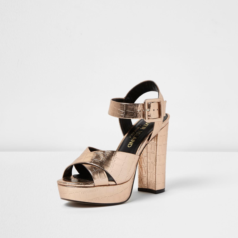 0029a2ce12c3 River Island Rose Gold Wide Fit Platform Heel Sandals in Pink - Lyst