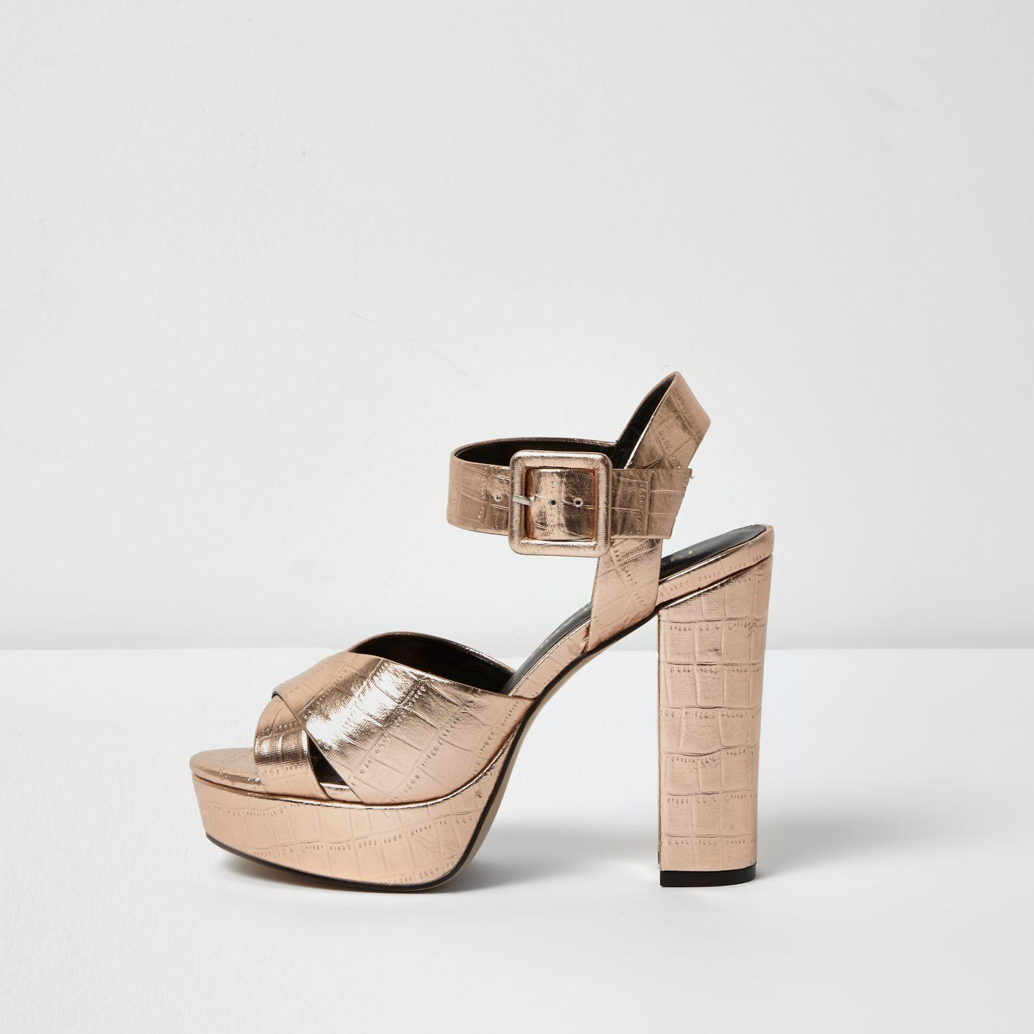 d90bc926bbd Lyst - River Island Rose Gold Wide Fit Platform Heel Sandals in Yellow