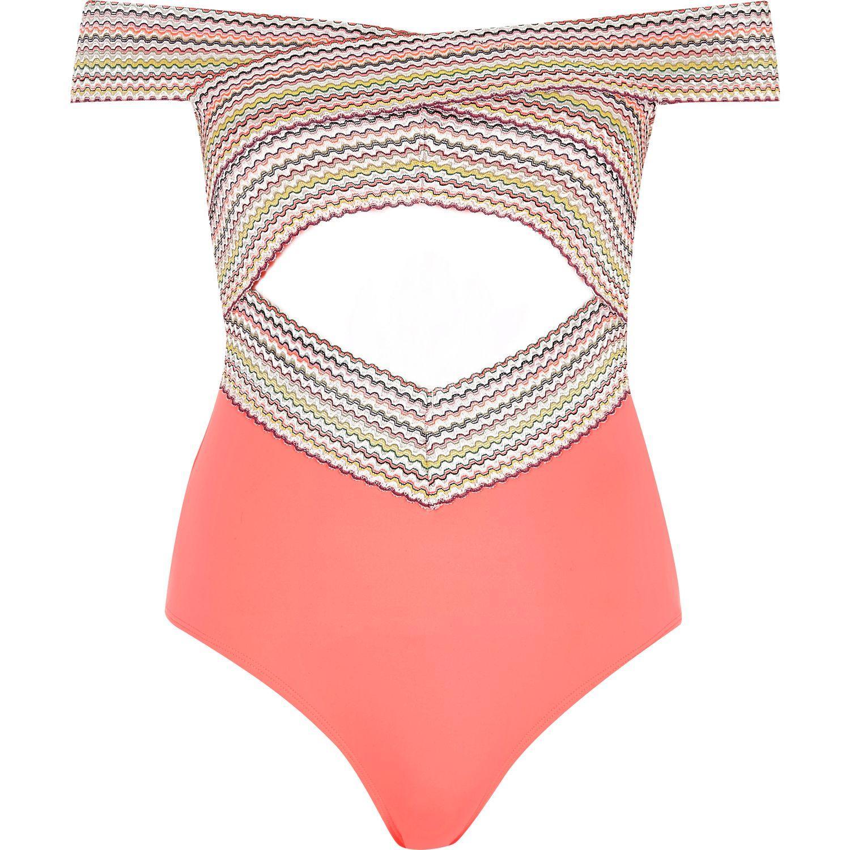 River Island Coral Bandage Bardot Swimsuit In Orange Lyst