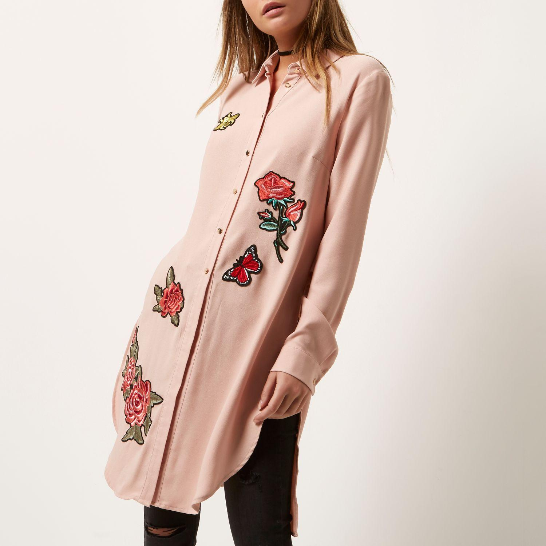 River Island Button Up Dress Pink