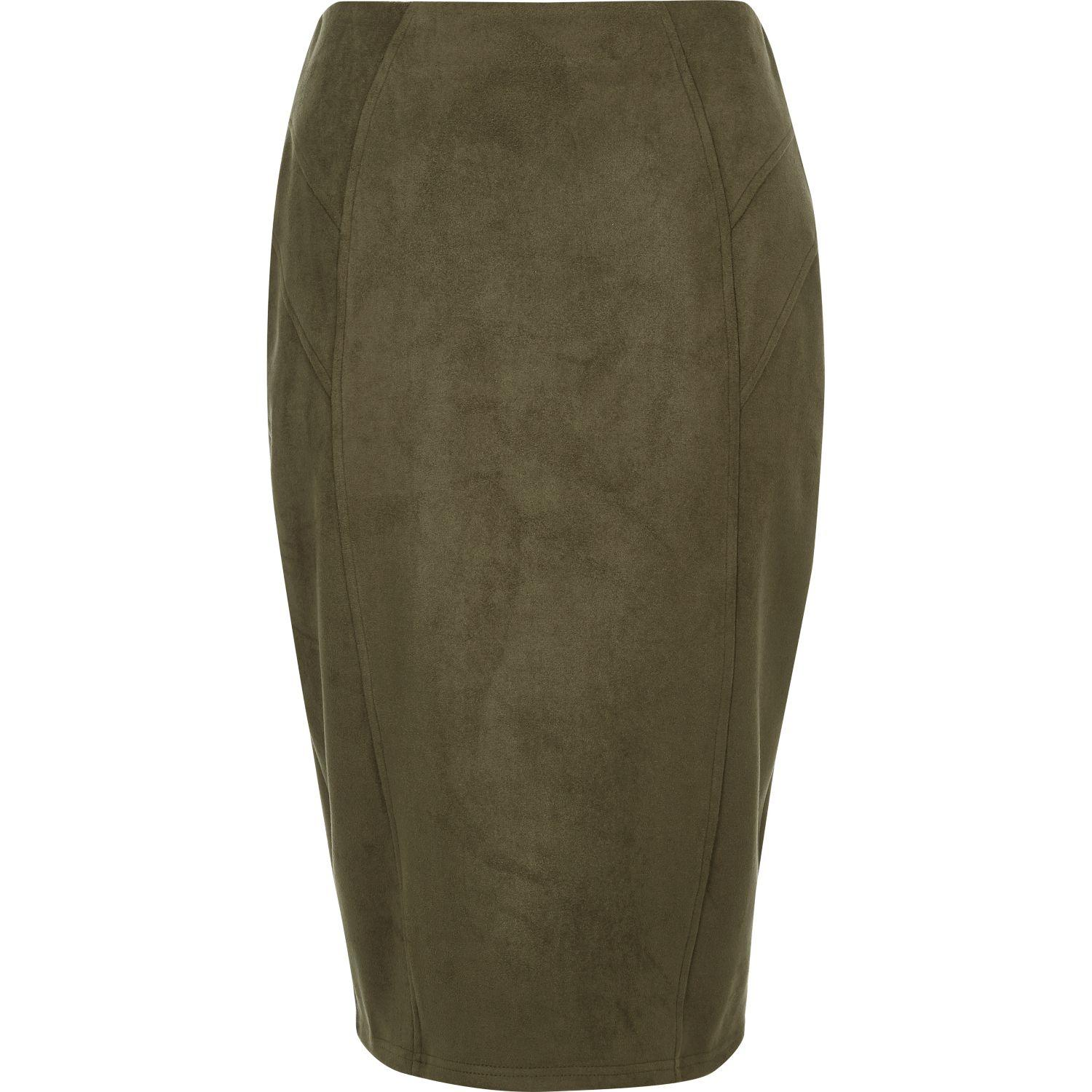 river island khaki green faux suede panel pencil skirt in