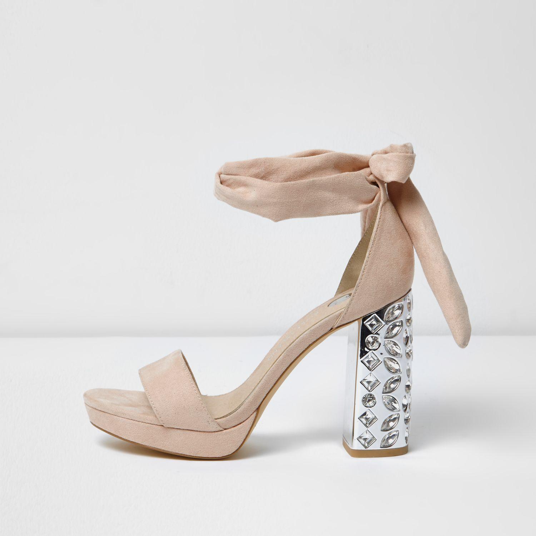 River Island Pink Tie Up Heels
