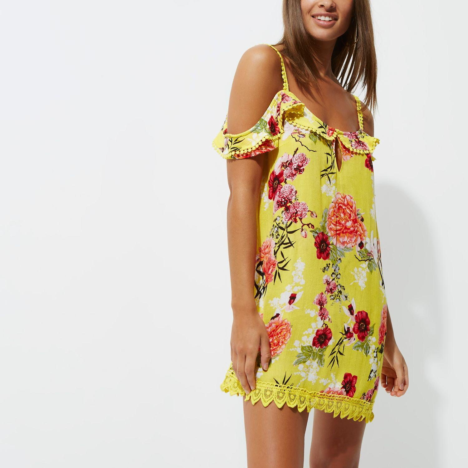 Lyst River Island Yellow Floral Frill Cold Shoulder