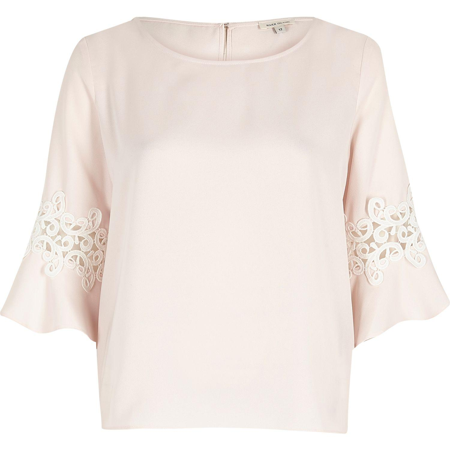 bcd6e9e0936b0 Lyst - River Island Light Pink Lace Trim Bell Sleeve Top in Pink