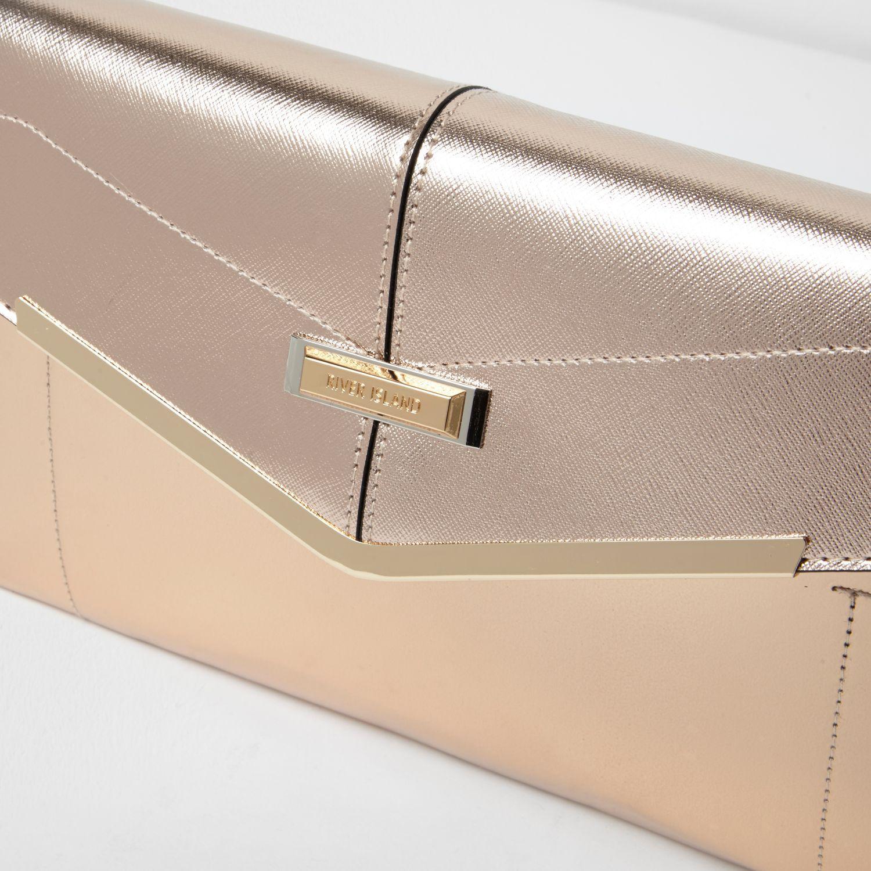 e53b2b16ce River Island Rose Gold Envelope Clutch Bag - Lyst