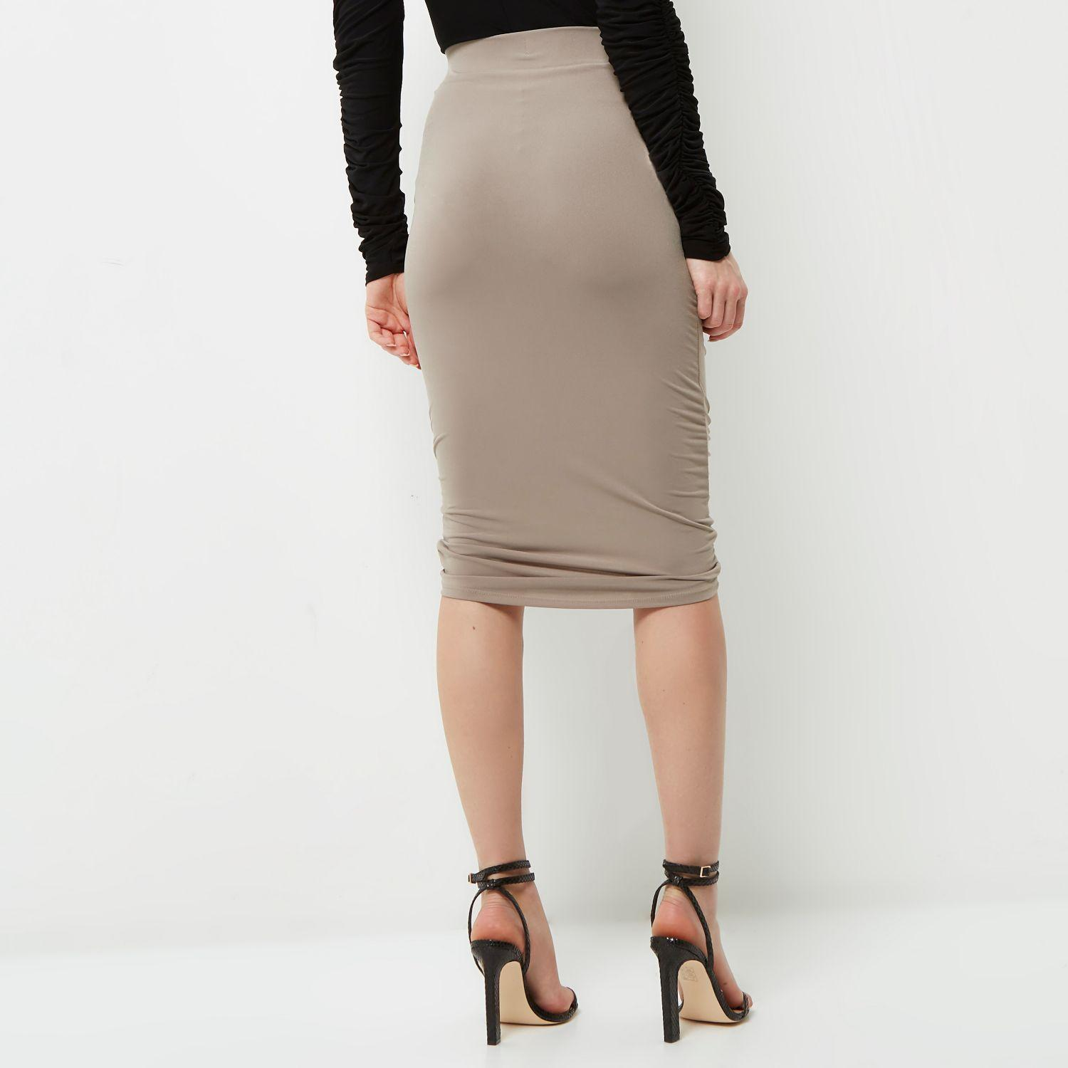 river island beige ruched pencil skirt in lyst