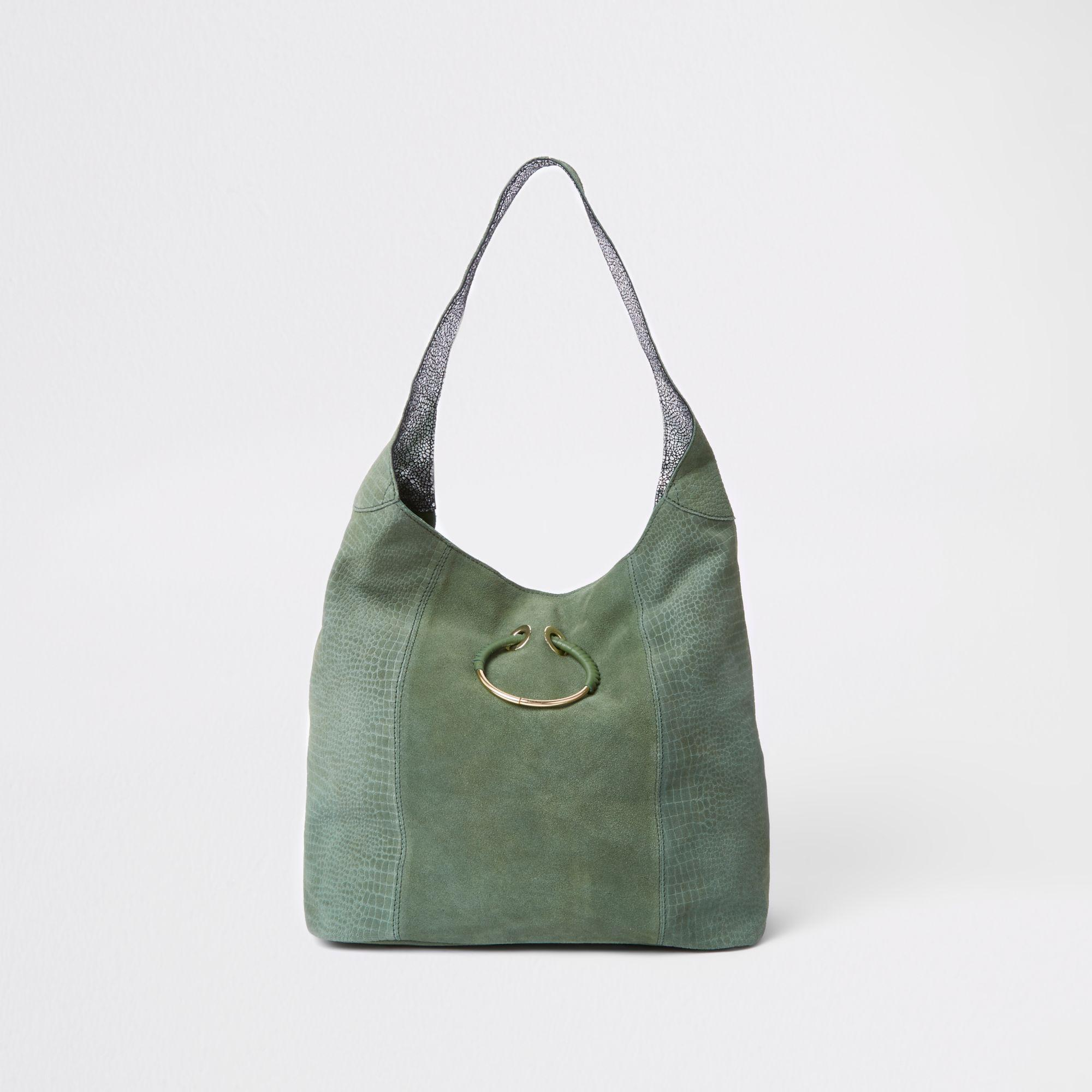 89c25d685 River Island Dark Leather Metal Ring Slouch Bag in Green - Lyst