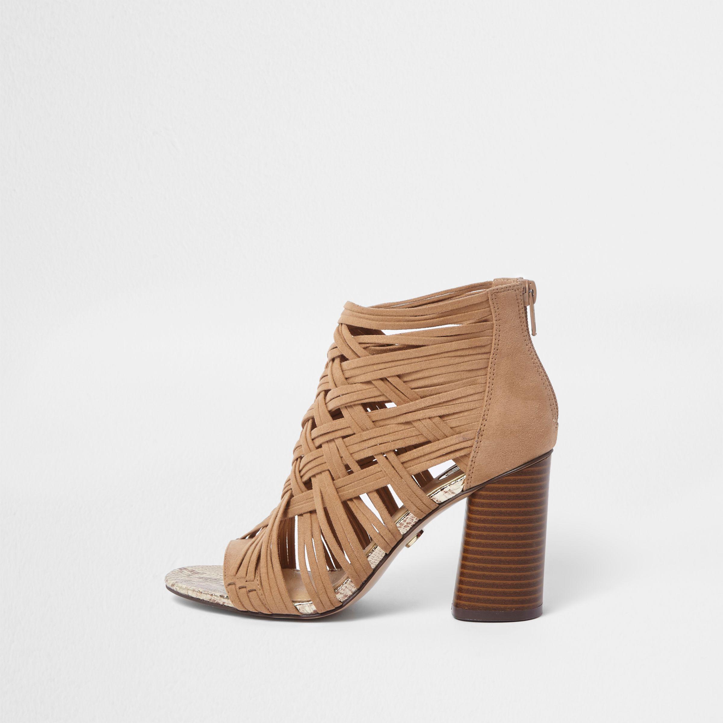 f8530cf23dc Lyst - River Island Light Brown Lattice Block Heel Sandals in Brown