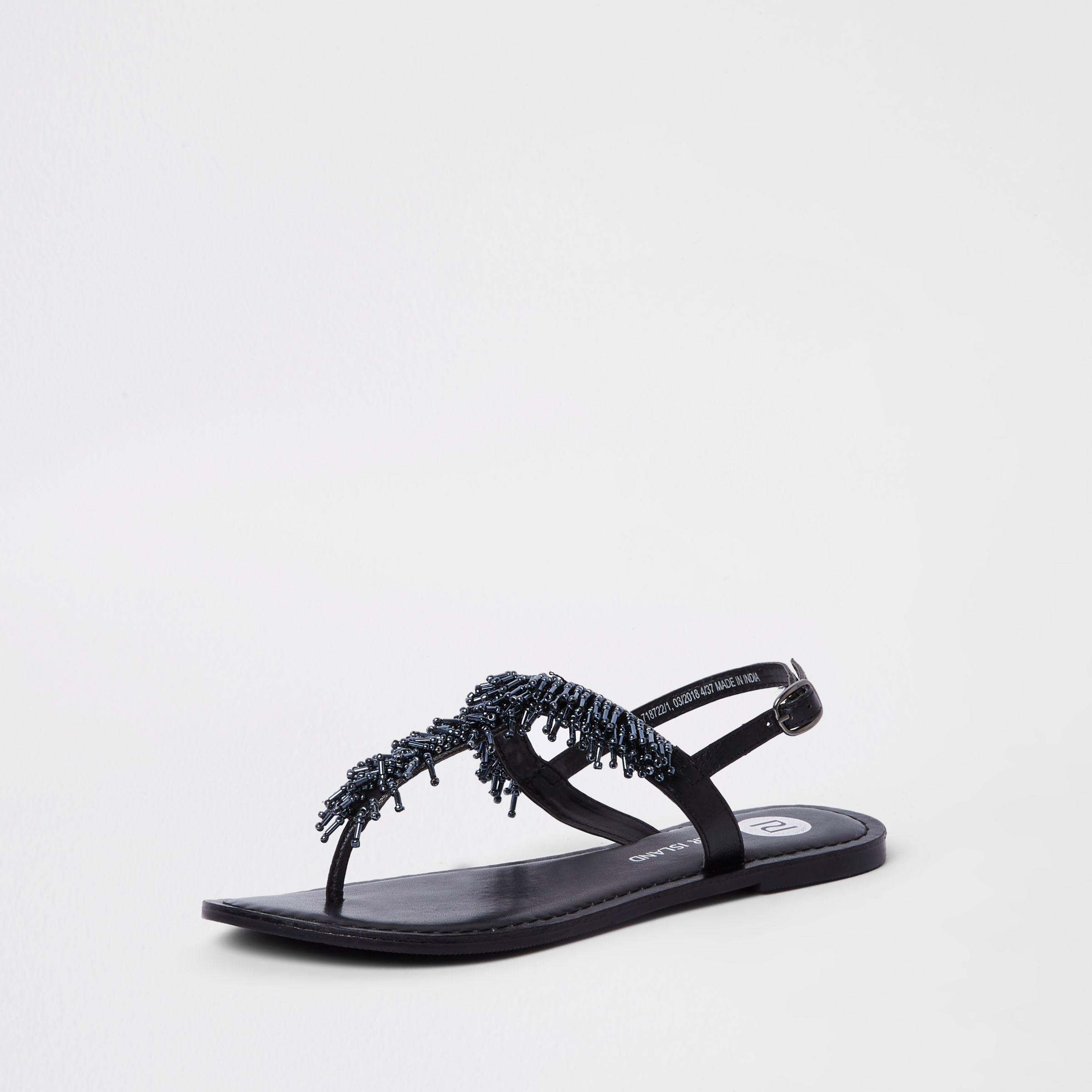 c4faf27289dd00 Lyst - River Island Black Bead Embroidered Sandals in Black