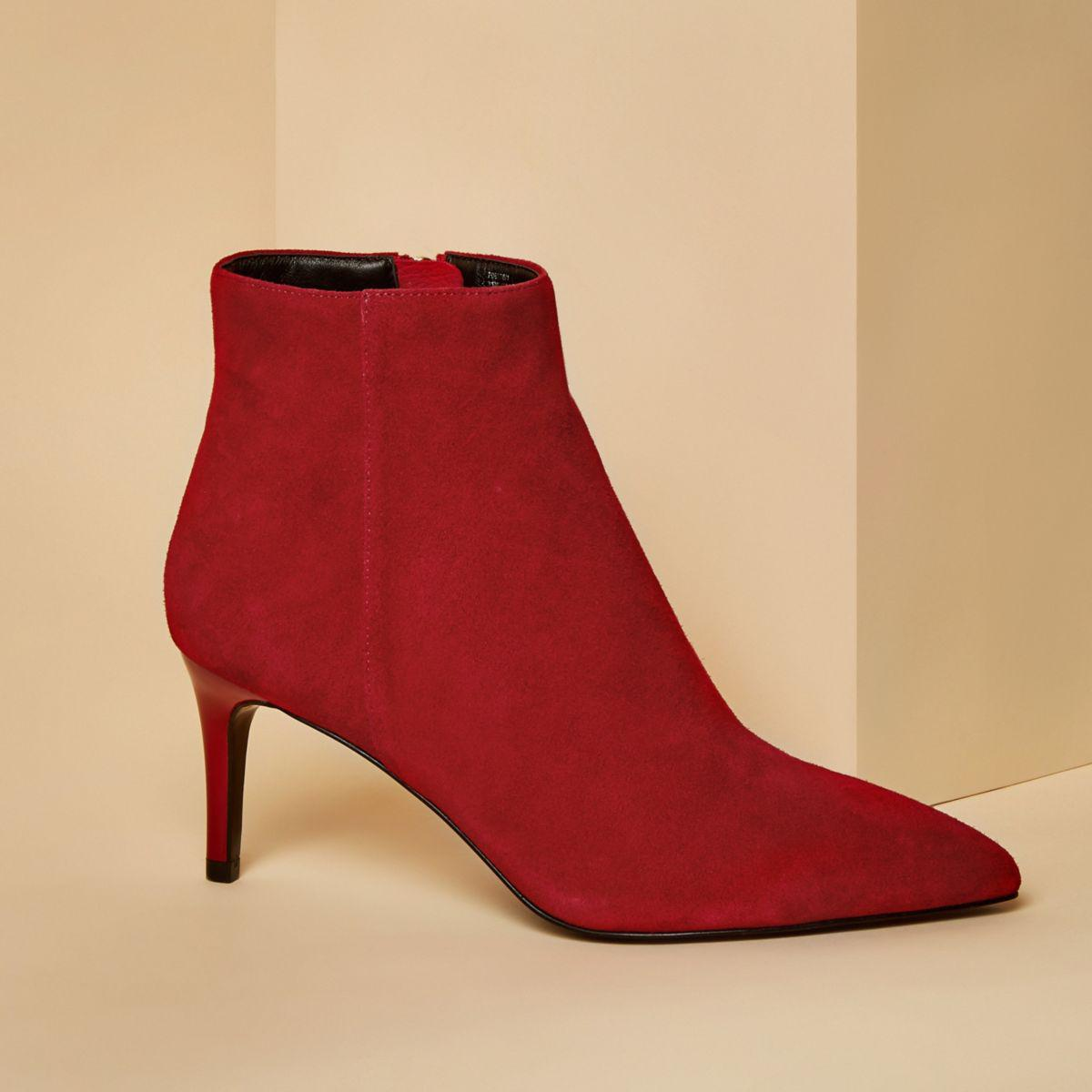 Lyst River Island Red Suede Pointed Kitten Heel Boots In Red