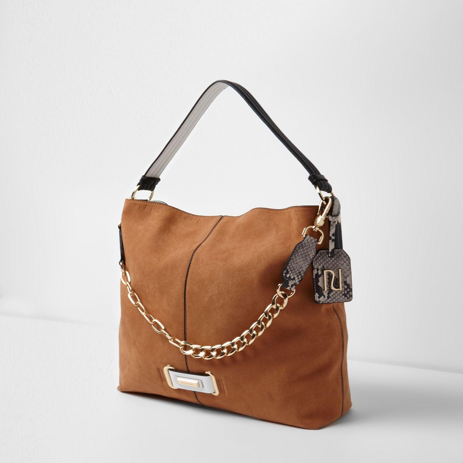 6be45ef5c2c9 Lyst - River Island Tan Chain Front Slouch Underarm Bag in Brown