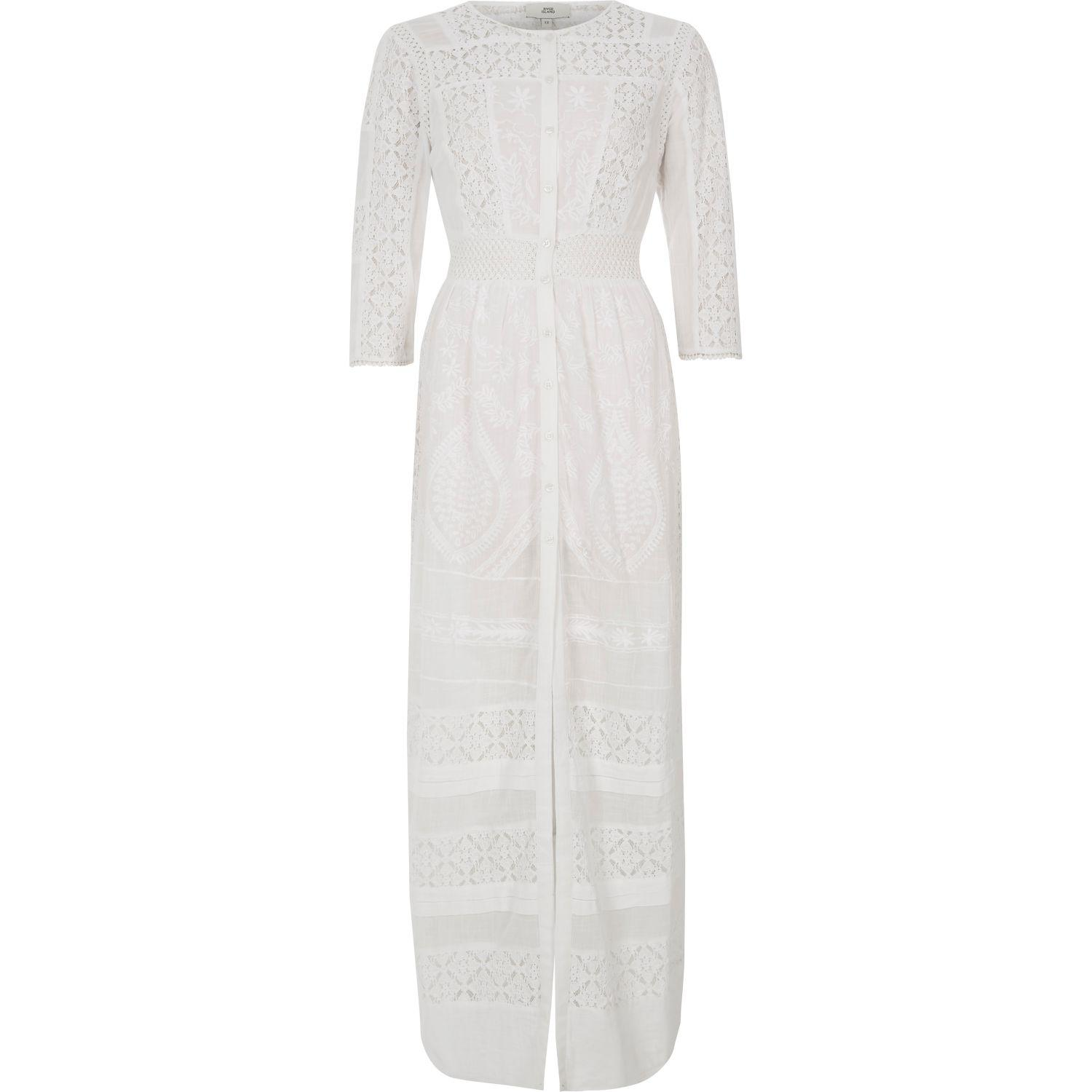 River island White Lace Panel Embroidered Maxi Shirt Dress in ...