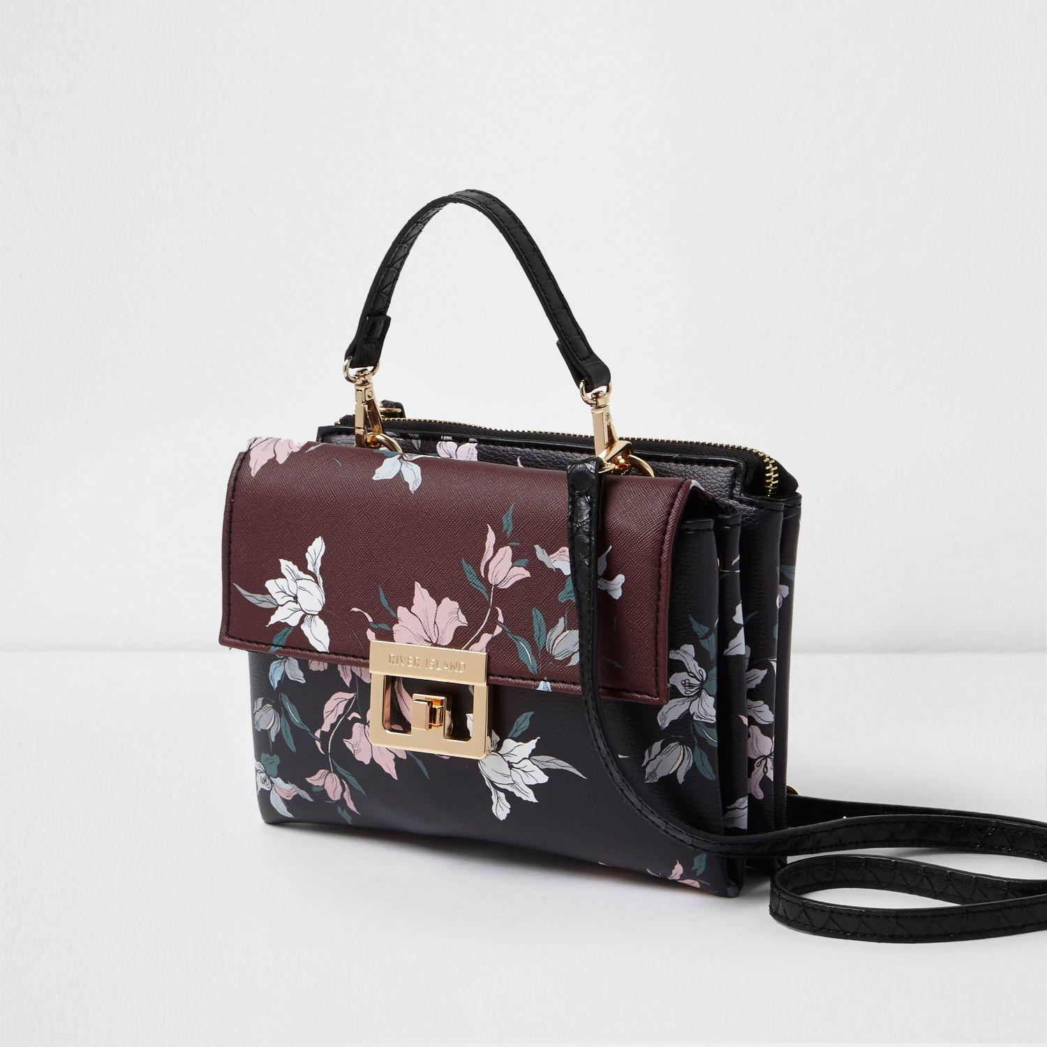 Lyst - River Island Dark Red Floral Print Lock Front Mini Bag In Red