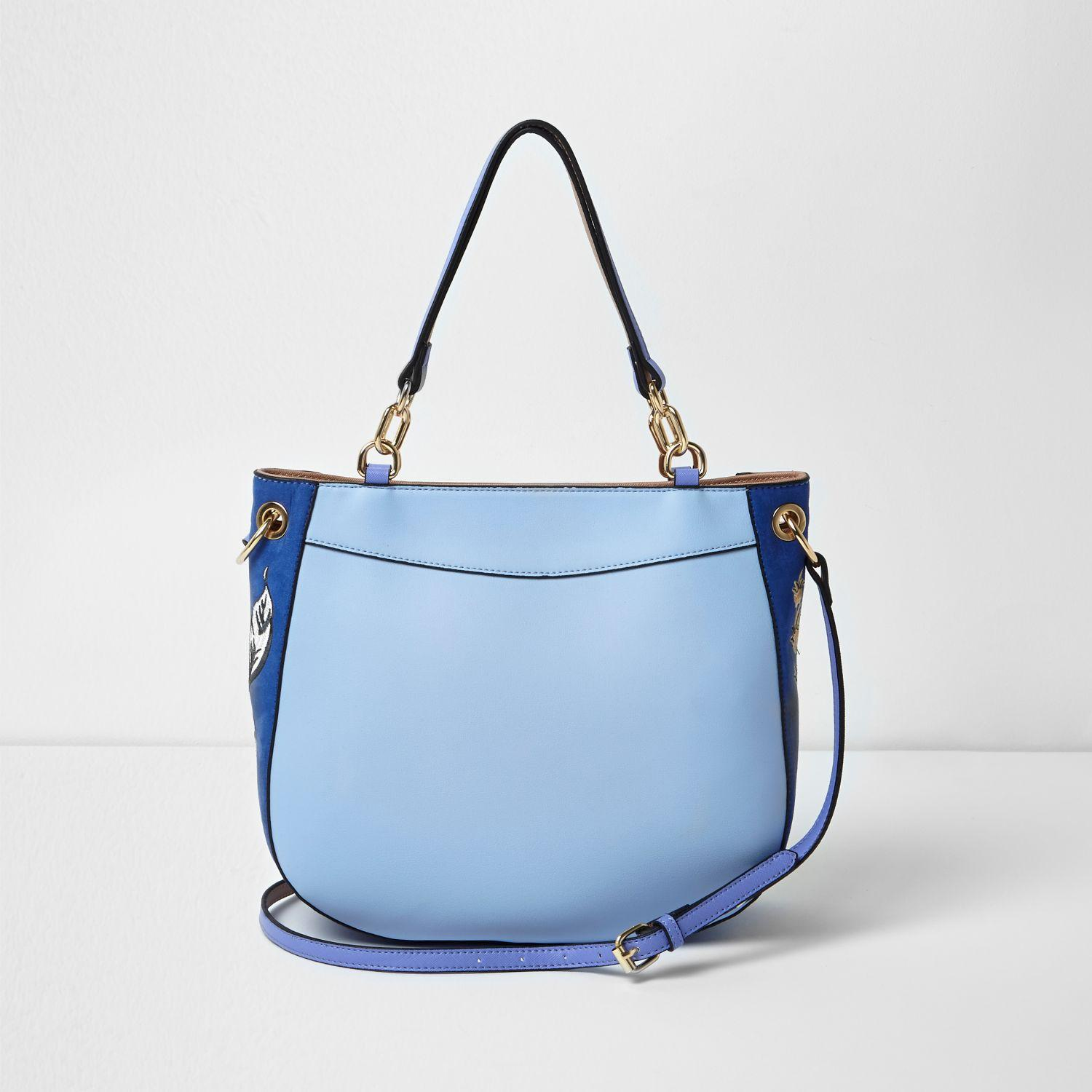Lyst - River Island Blue Floral Embroidered Scoop Tote Bag In Blue
