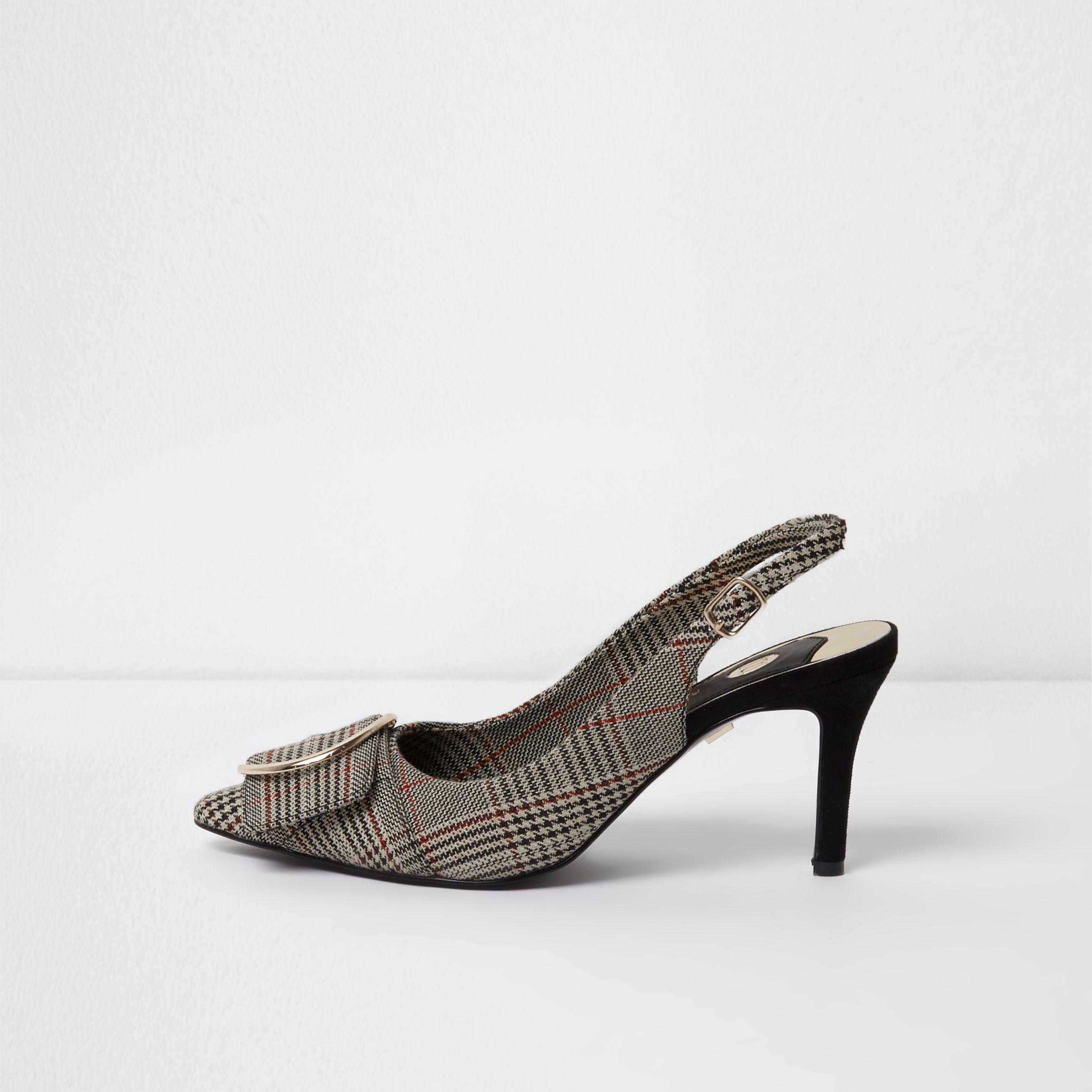 53a49a76e87 Lyst - River Island Black Check Pointed Sling Back Kitten Heels in Black