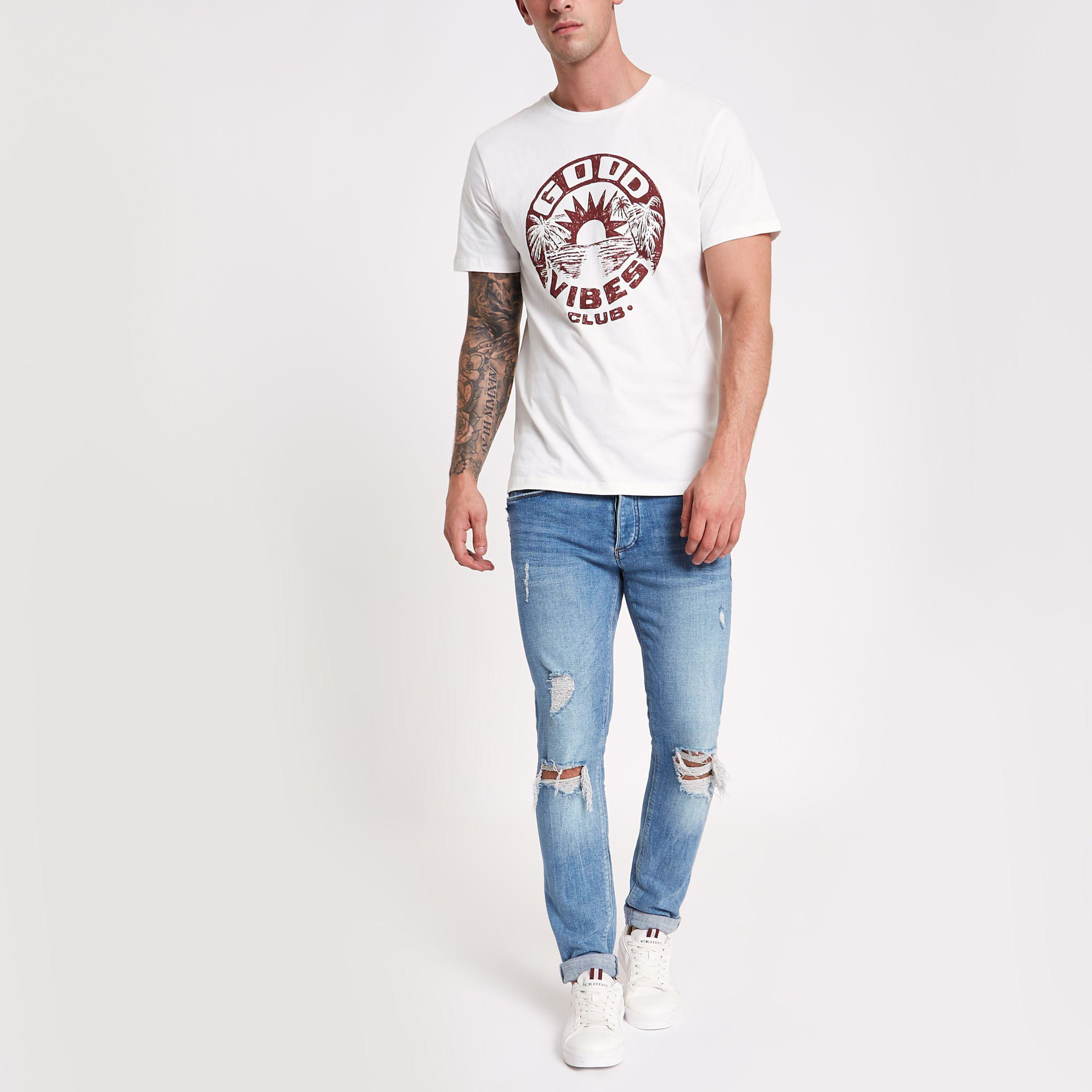 a9a726d06 River Island Jack & Jones White 'good Vibes' T-shirt in White for ...