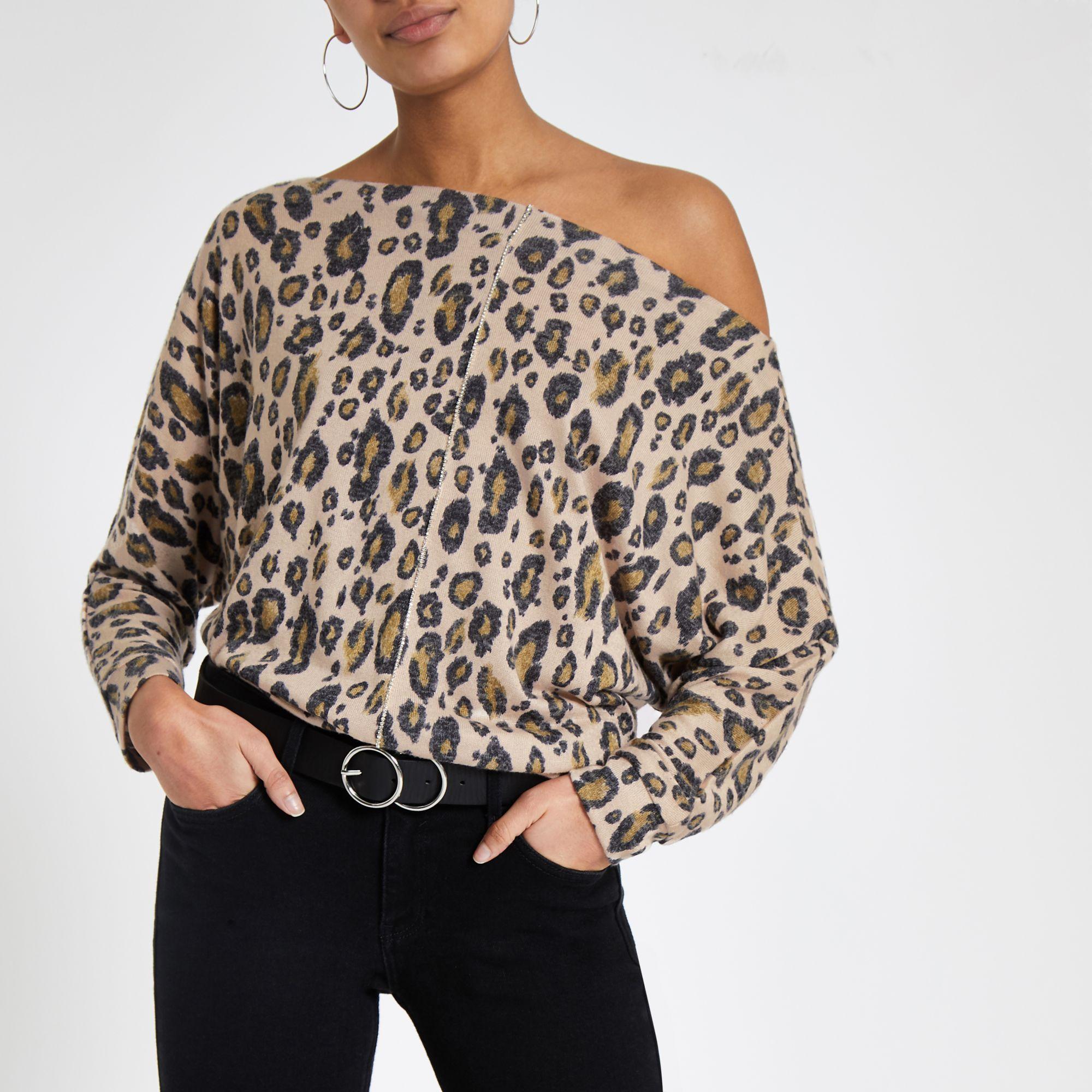 5938b689b14078 River Island Leopard Print Batwing Sleeve Top in Brown - Lyst