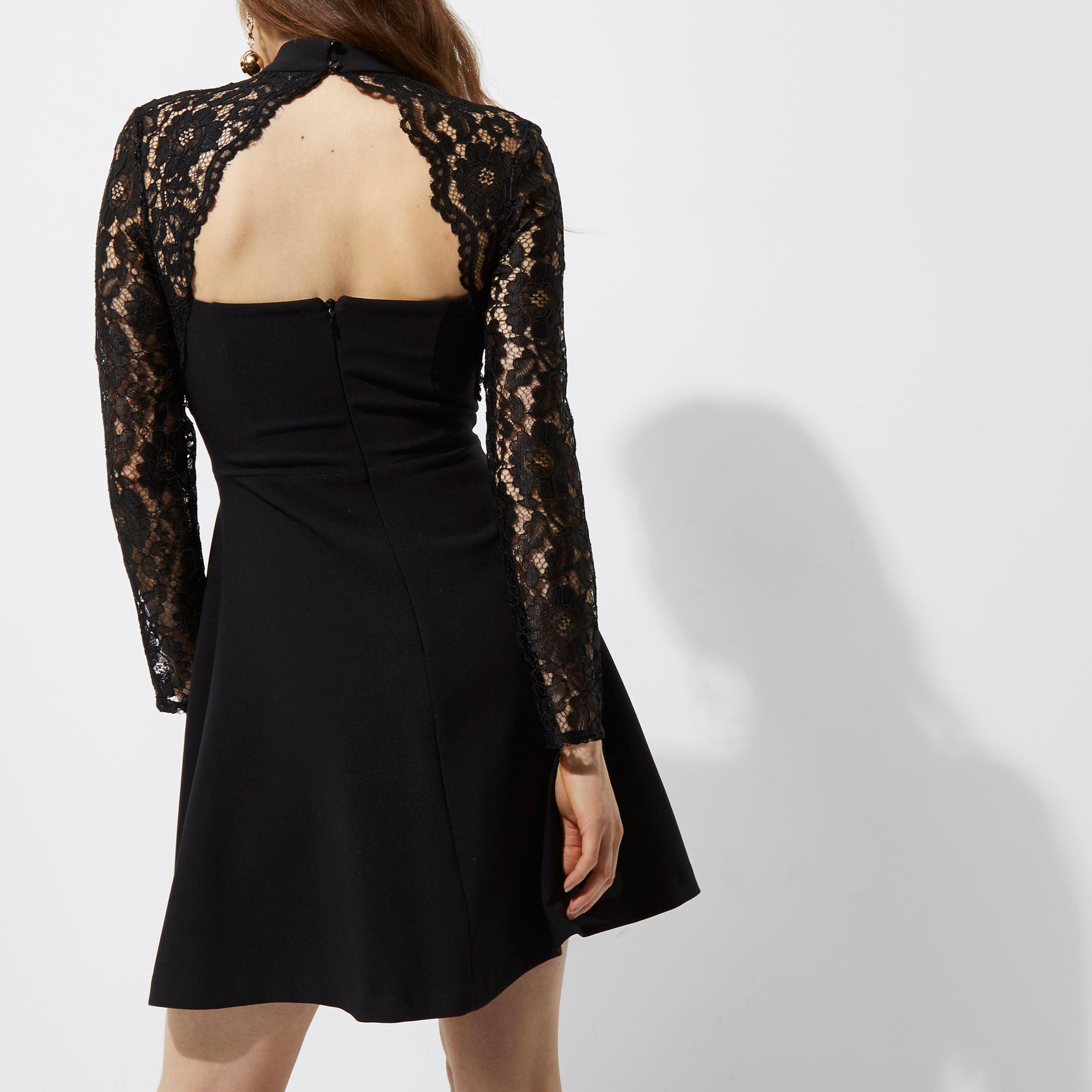 b8fe9d4516 Lyst - River Island Black Lace Long Sleeve Choker Skater Dress in Black