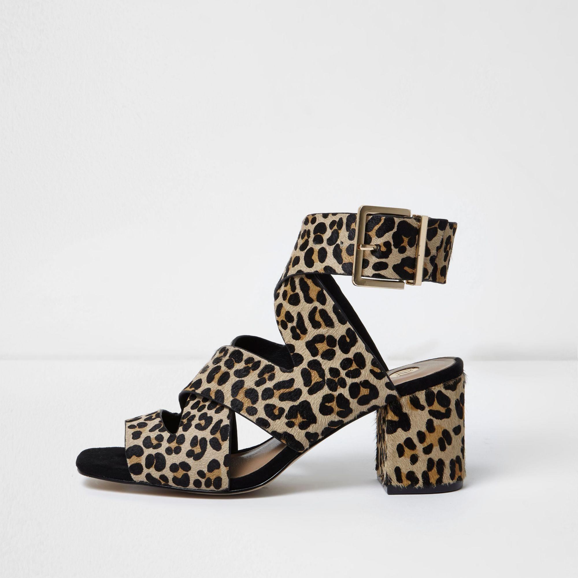 a539948a80d1 River Island Leopard Print Pony Hair Sandals in Brown - Lyst