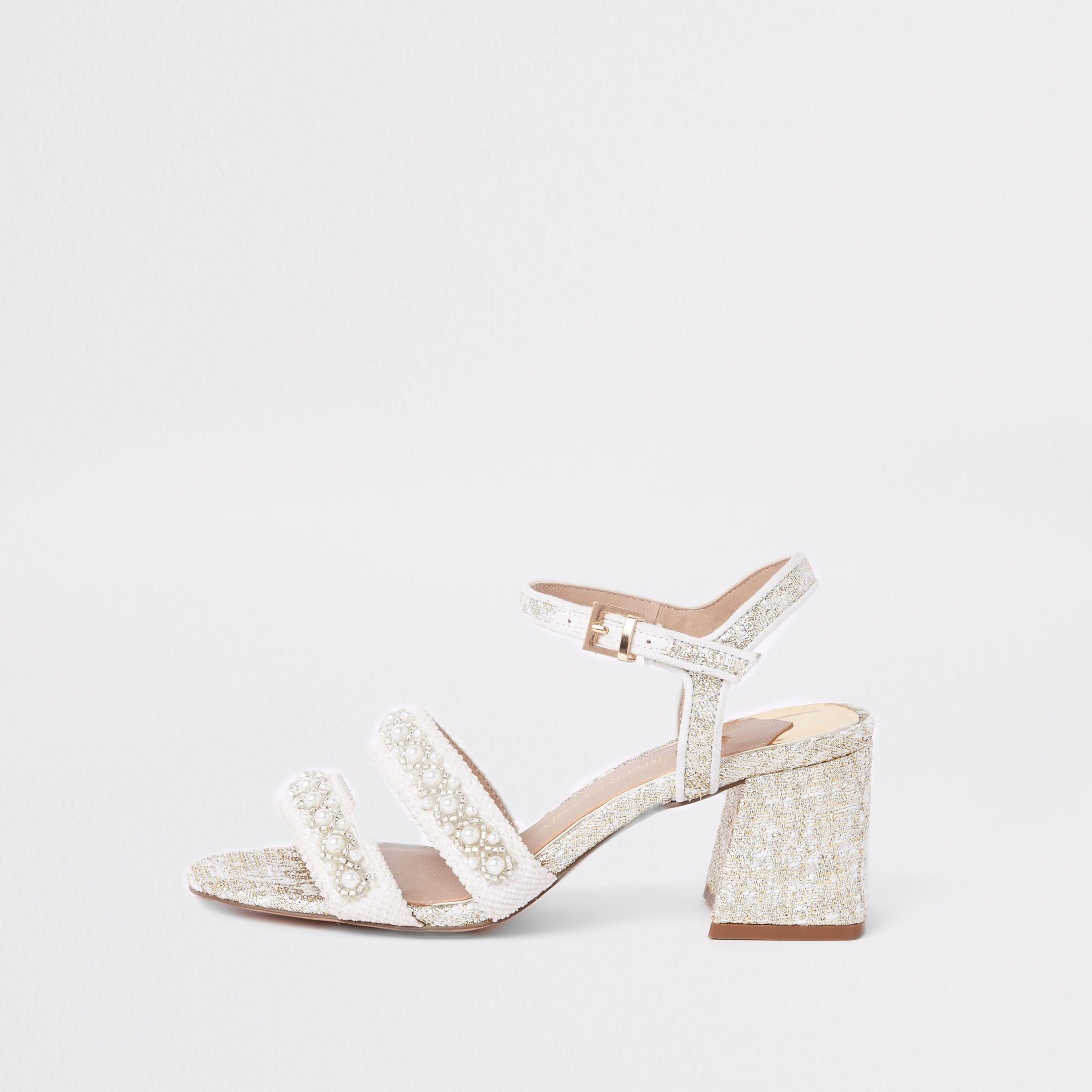 138cc48834b Lyst - River Island White Textile Pearl Block Heel Sandals in White
