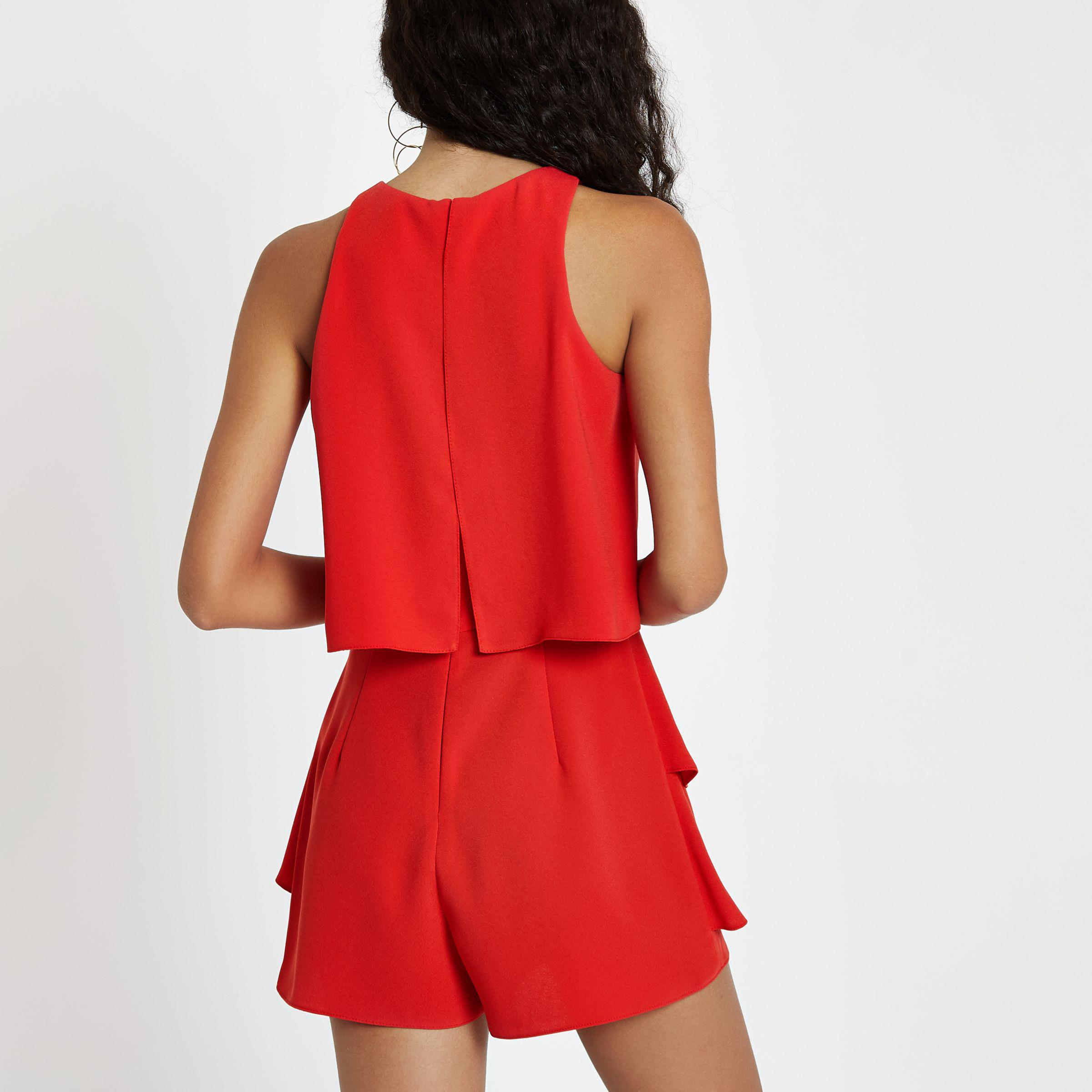 b072be5a6c6 River Island Red Tiered Frill Playsuit in Red - Lyst