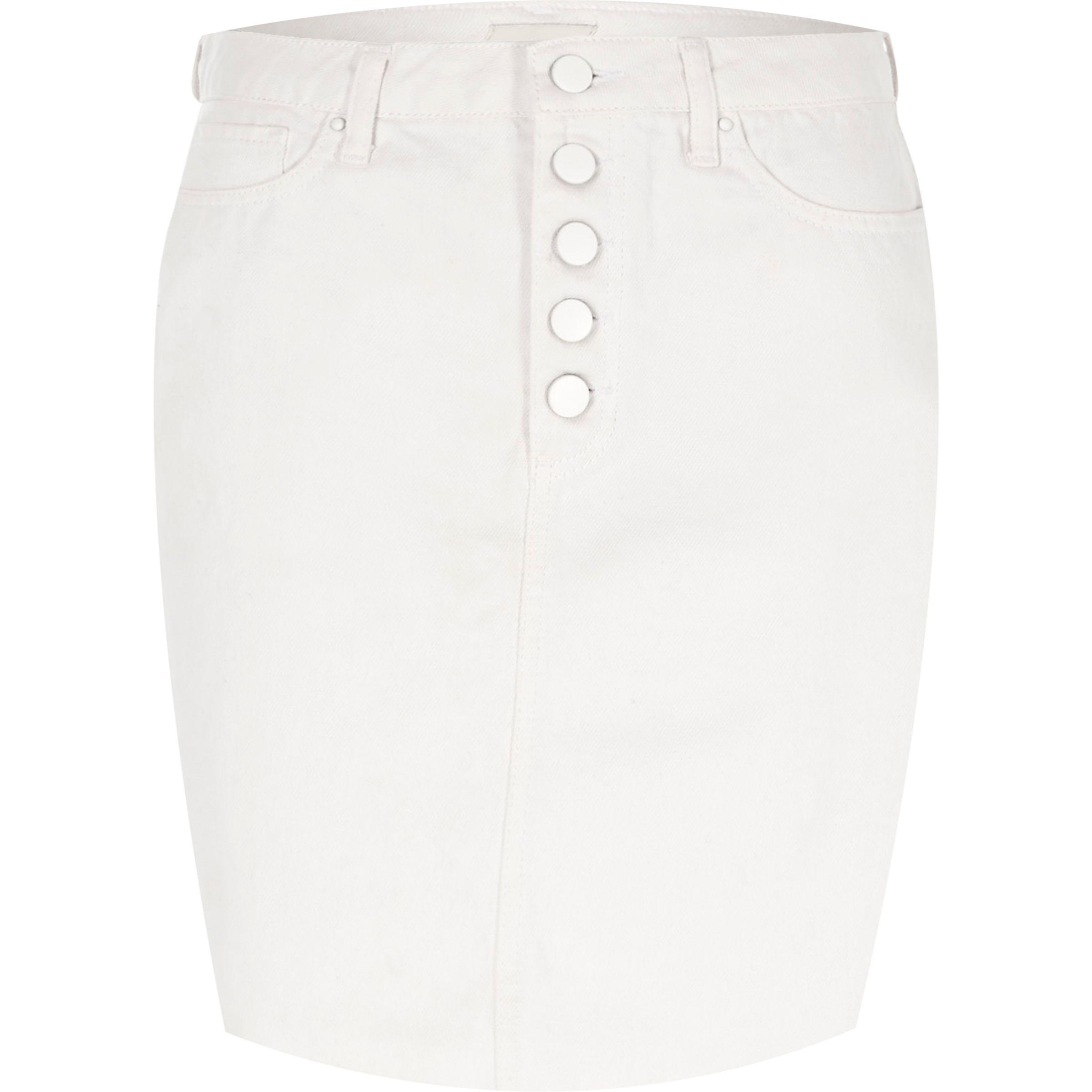 0b7a86dc265 Lyst - River Island Cream High Waisted Raw Hem Denim Mini Skirt in ...