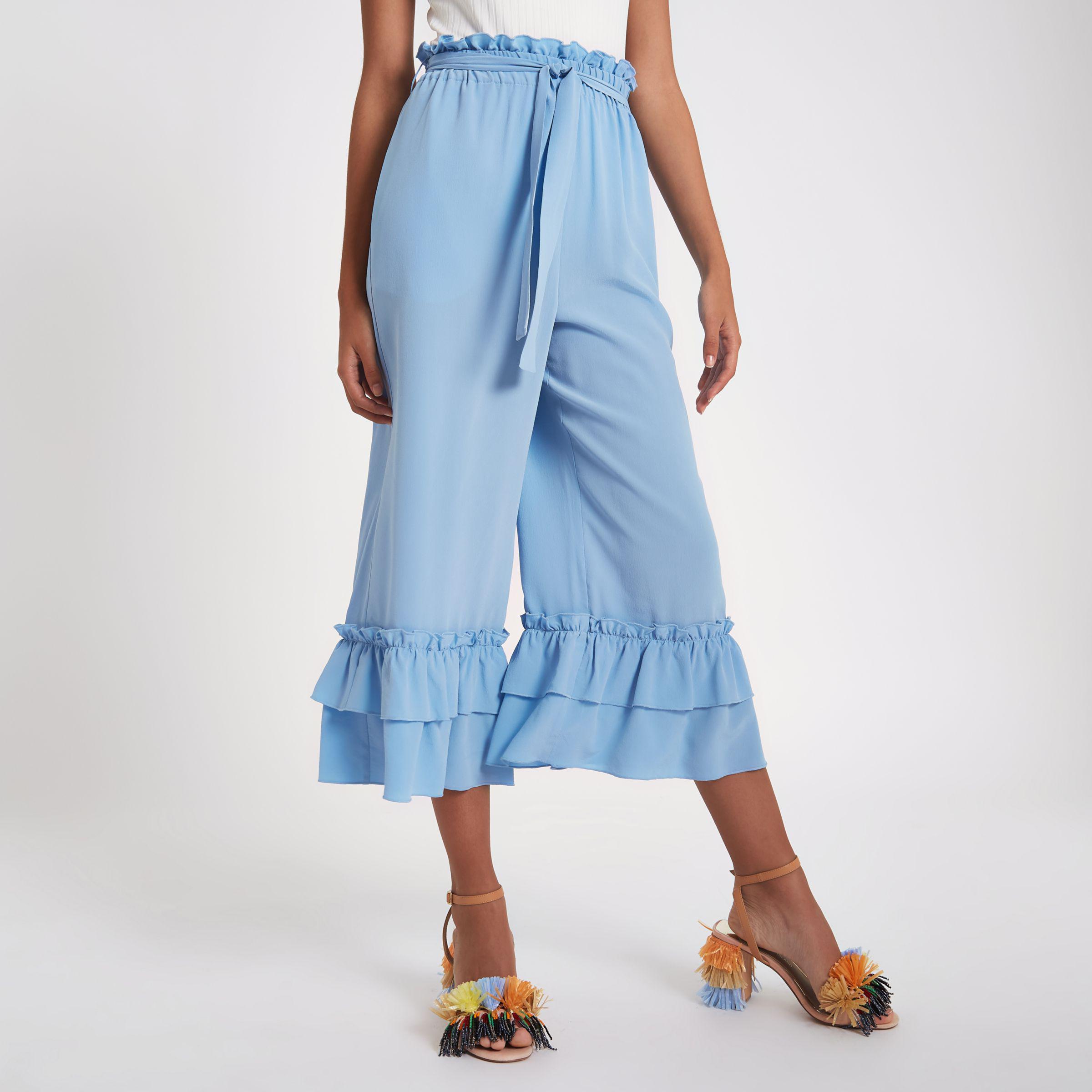 Womens Blue silk tiered frill tie waist culottes River Island RnQGgYyw