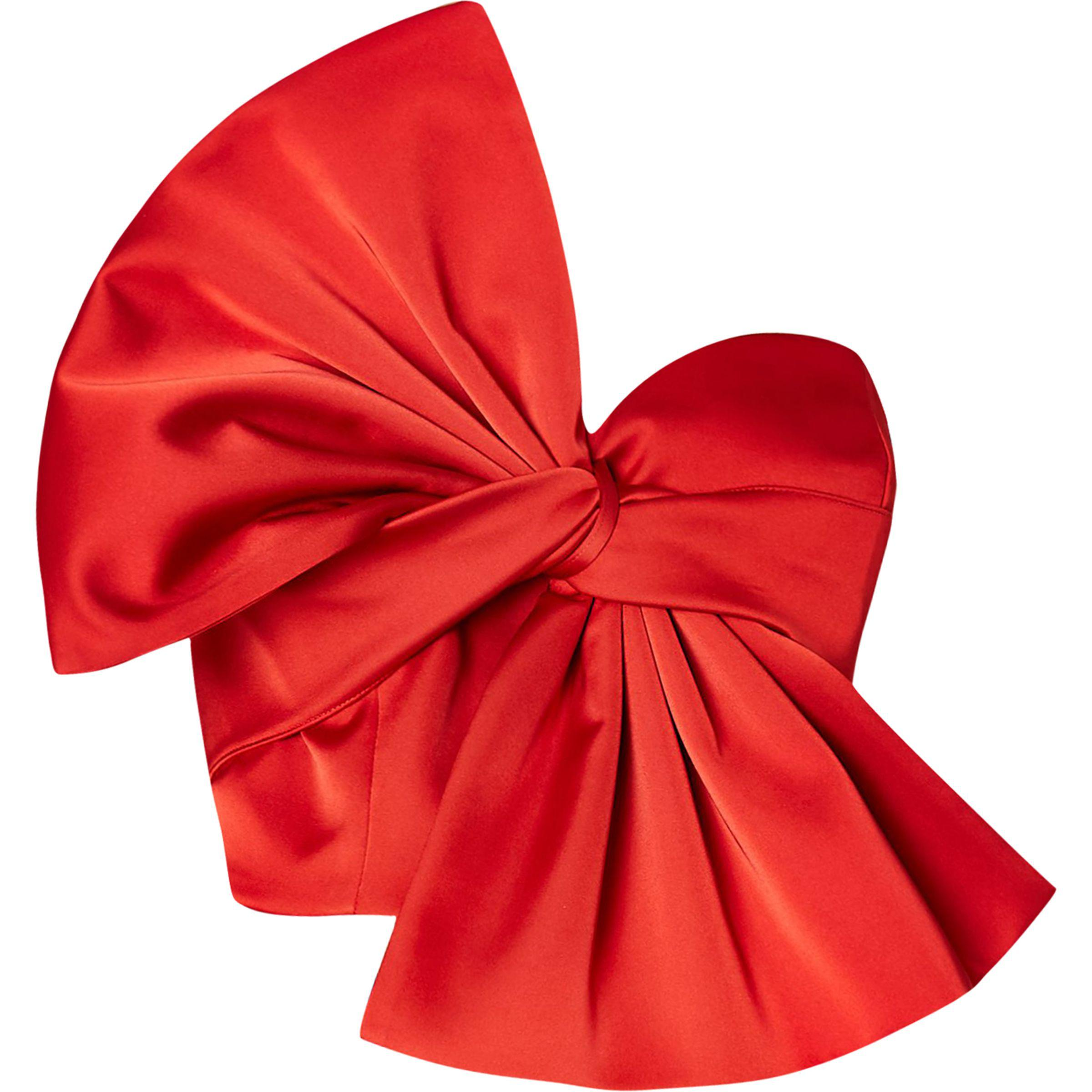 e90f59d55ed78b River Island Red Oversized Bow Bandeau Satin Crop Top in Red - Lyst