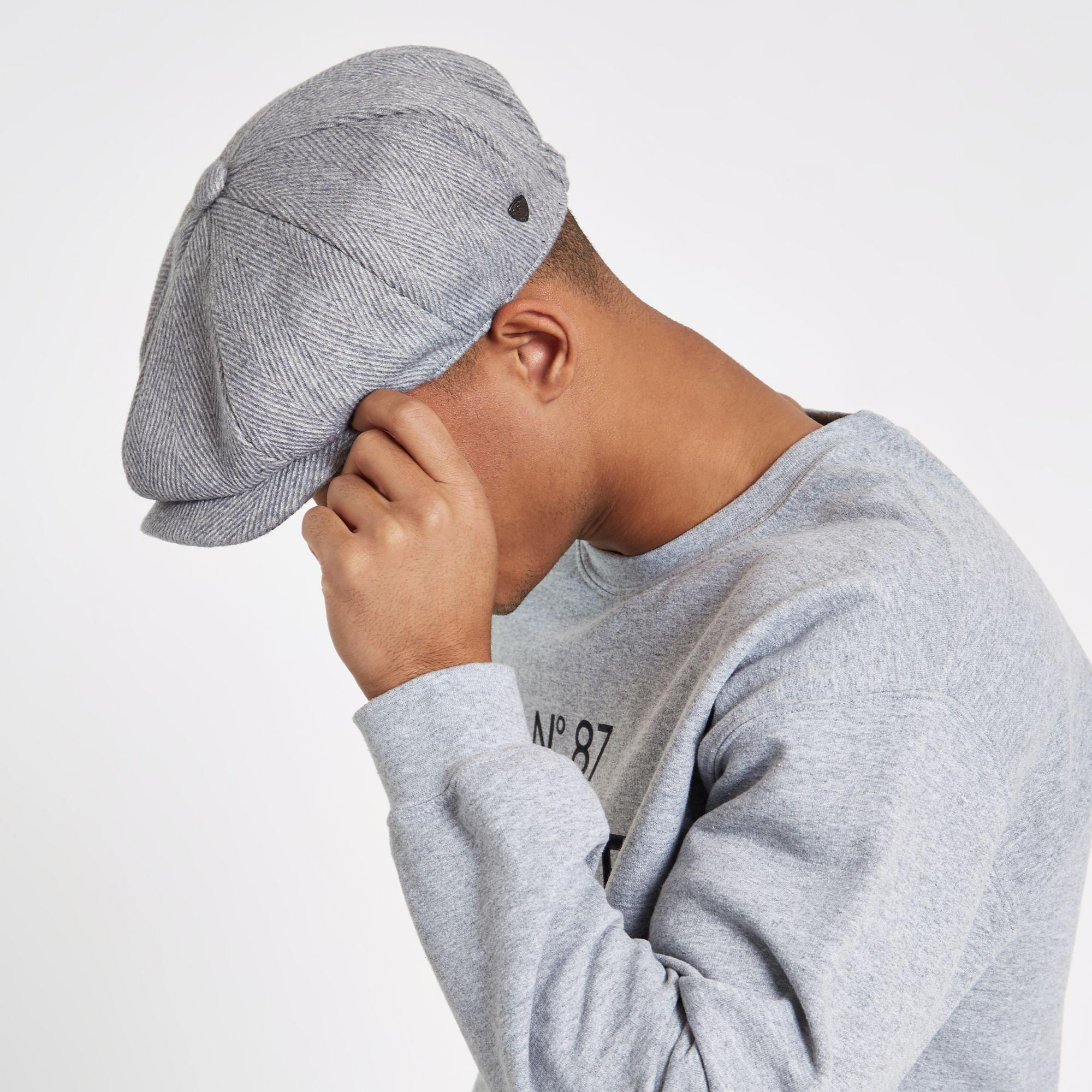 a369186c River Island Light Herringbone Baker Boy Hat in Gray for Men - Lyst