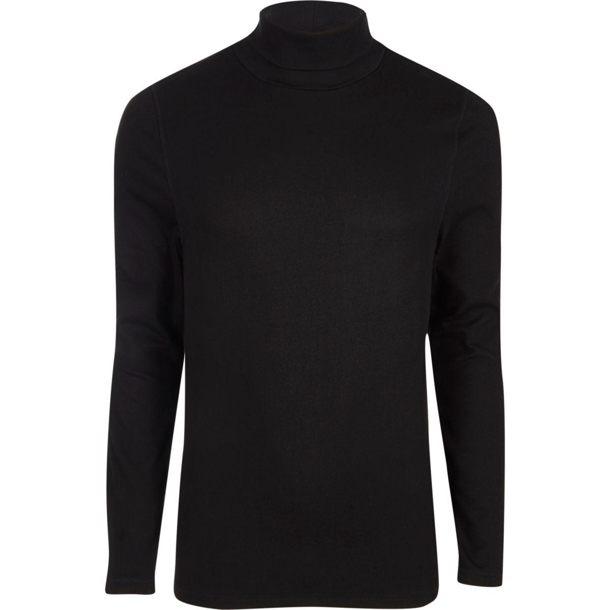 Lyst river island black long sleeve roll neck slim fit t for Black fitted long sleeve t shirts