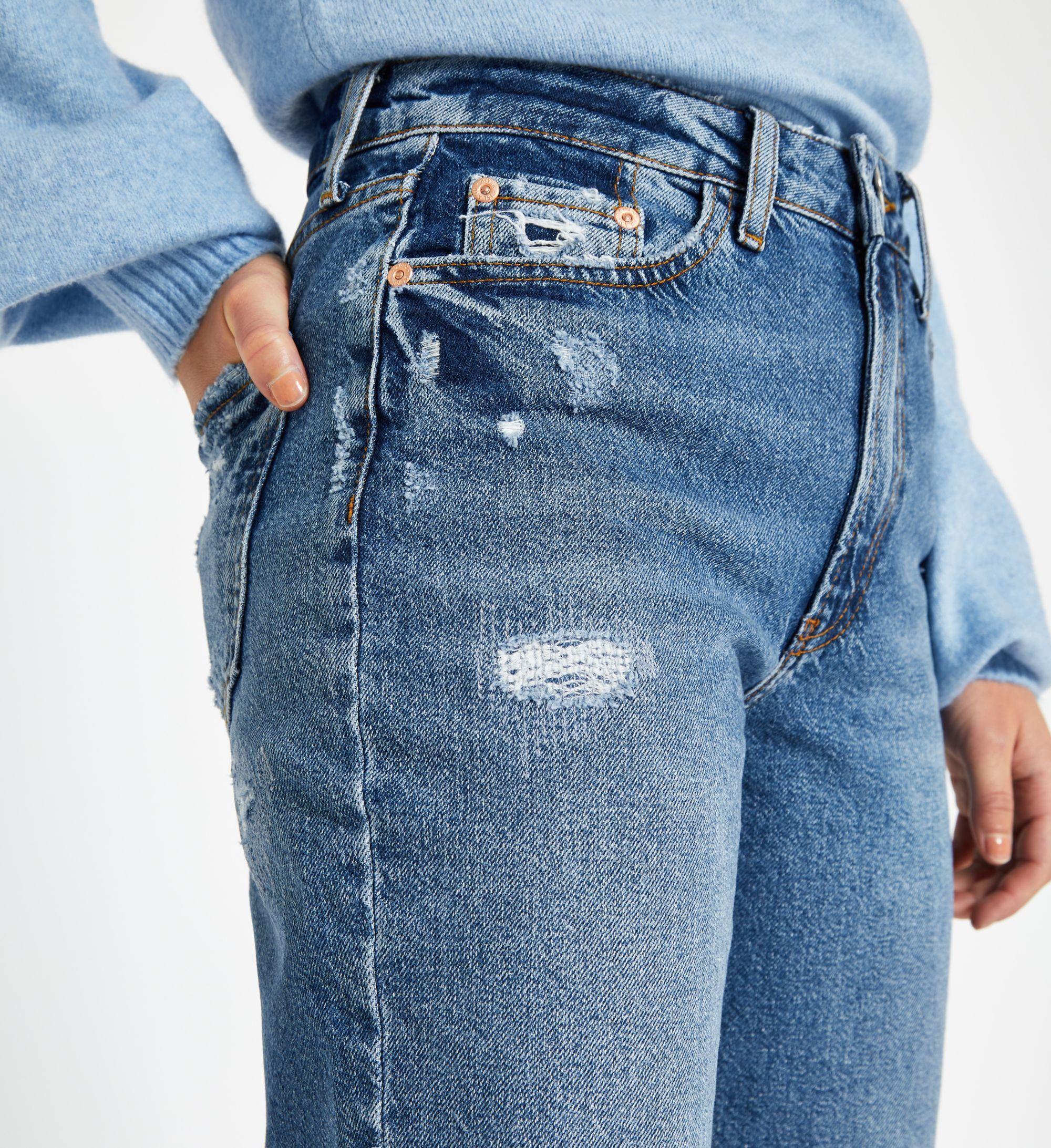 a2b64362a88775 ... Petite Mid Blue High Rise Mom Jeans - Lyst. View fullscreen