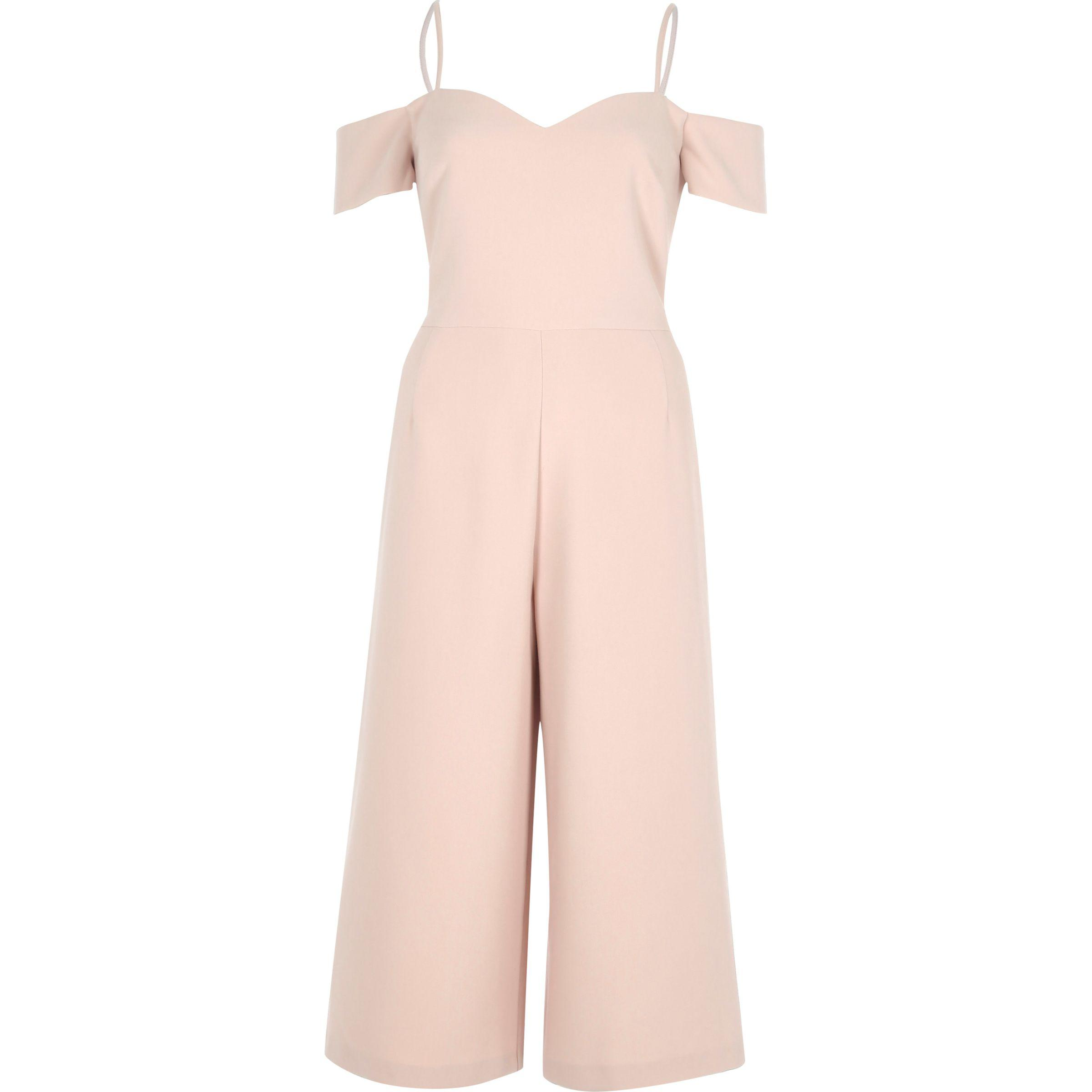 5b64bb6f1b3 Lyst - River Island Light Pink Bardot Fitted Culotte Jumpsuit in Pink