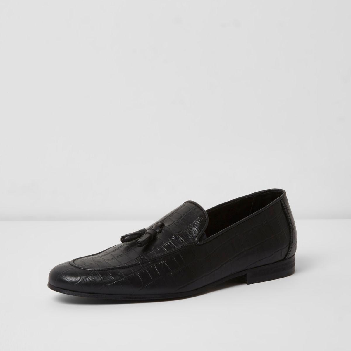 River Island Mens croc embossed tape leather slim loafer rwAnVpEdg9