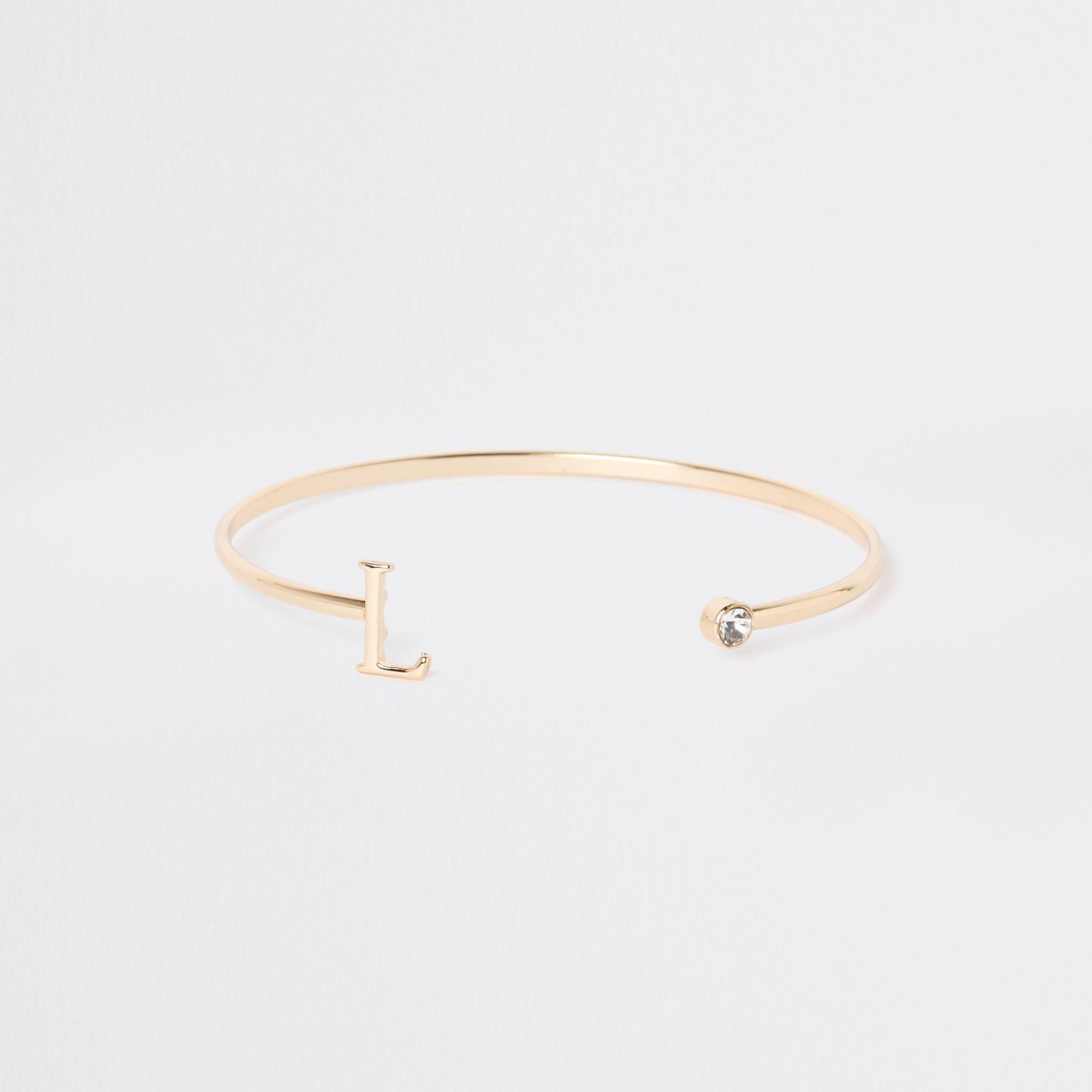 1db7da45d33 Lyst - River Island Gold Plated 'l' Initial Cuff Bracelet in Metallic