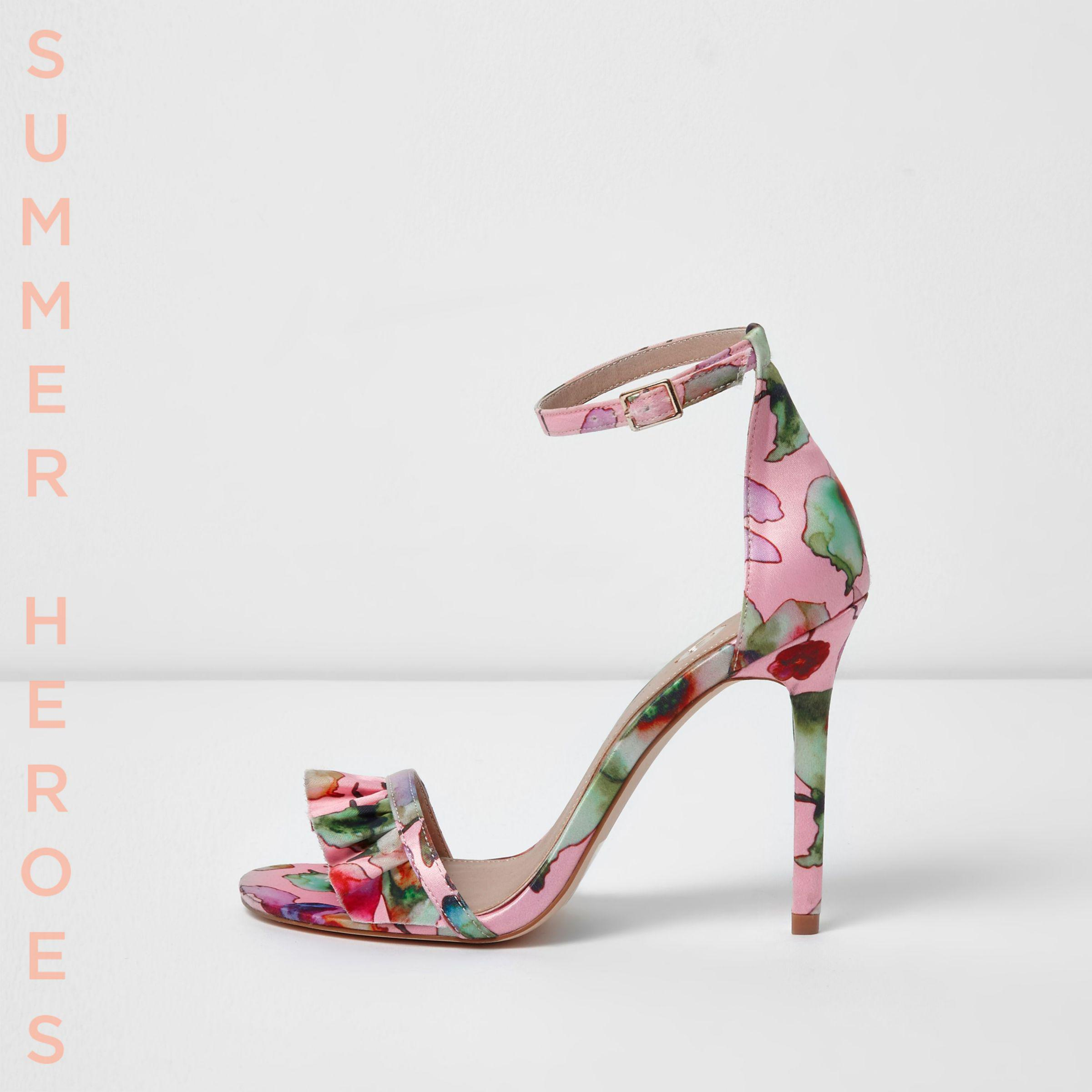 3516664f83c River Island Pink Wide Fit Floral Barely There Sandals in Pink - Lyst