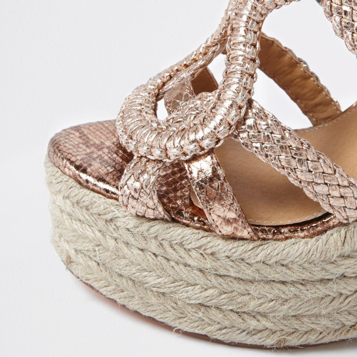 a42760bf3f7 River Island Rose Gold Metallic Braided Espadrille Wedges Rose Gold ...