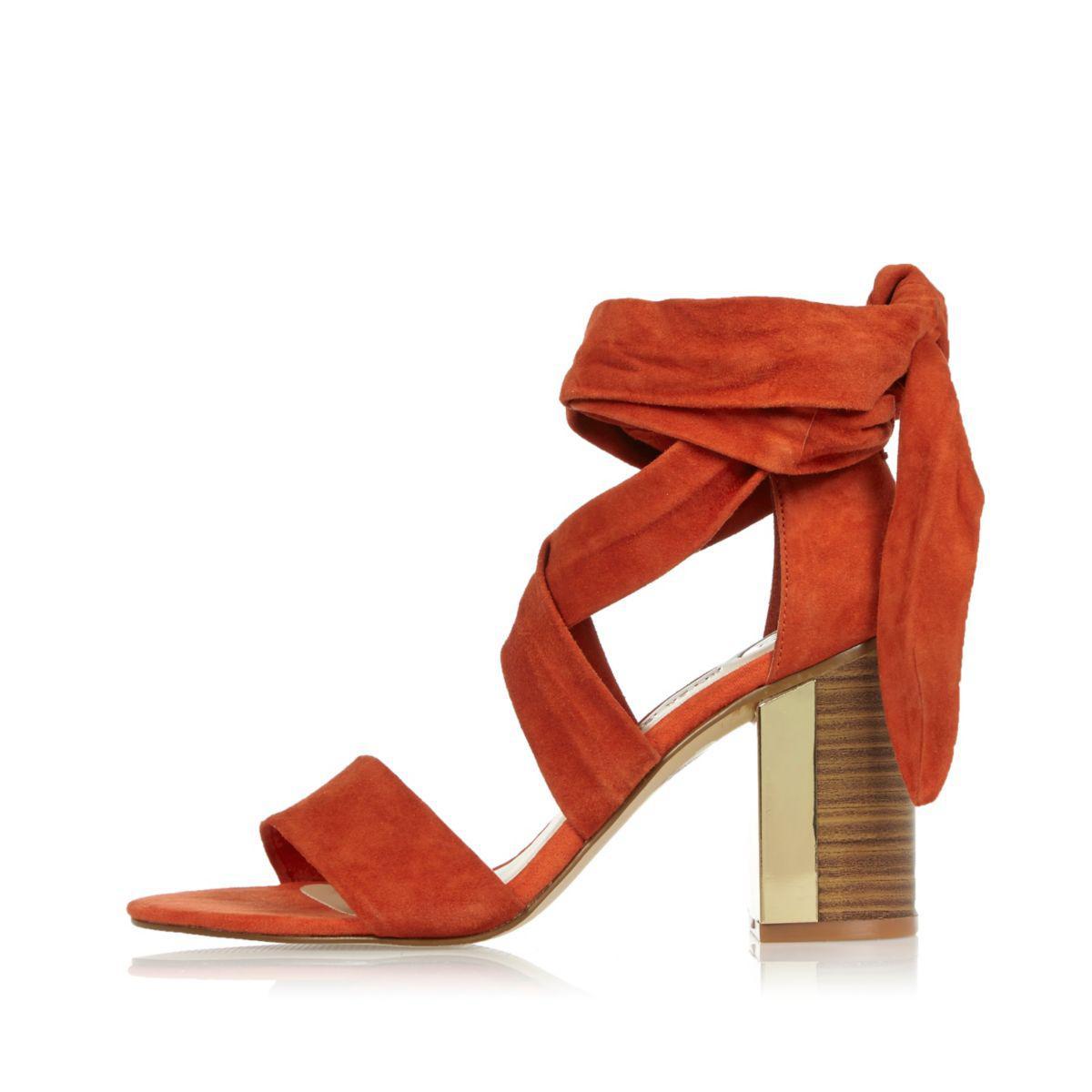 5fe185d5b722 River Island Dark Orange Suede Tie-up Block Heel Sandals in Red - Lyst